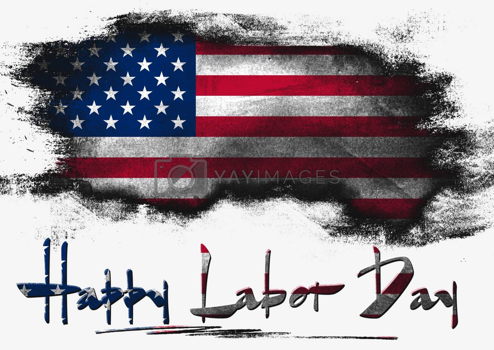 Flag of United States painted with brush on solid background, Labor Day