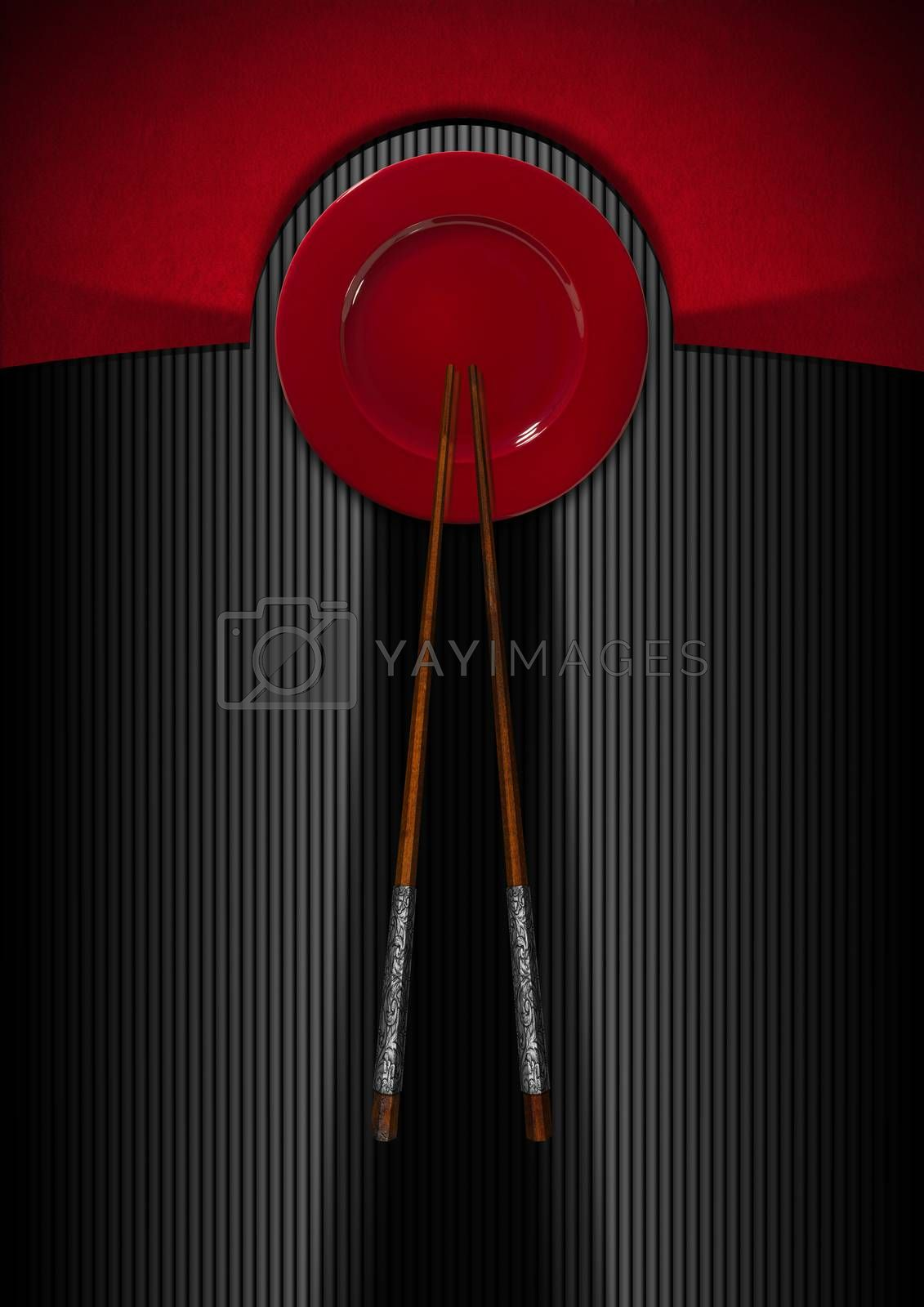 Template for an Asian menu with wooden and silver chopsticks and red plate. On a red, black and grey background