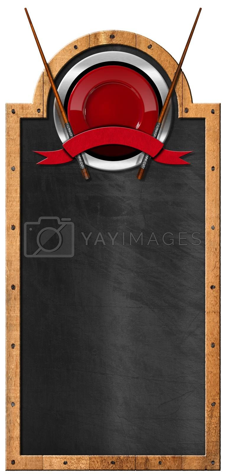 Empty blackboard with wooden frame and symbol with red plate, wooden chopsticks and empty red ribbon. Template for an Asian Menu