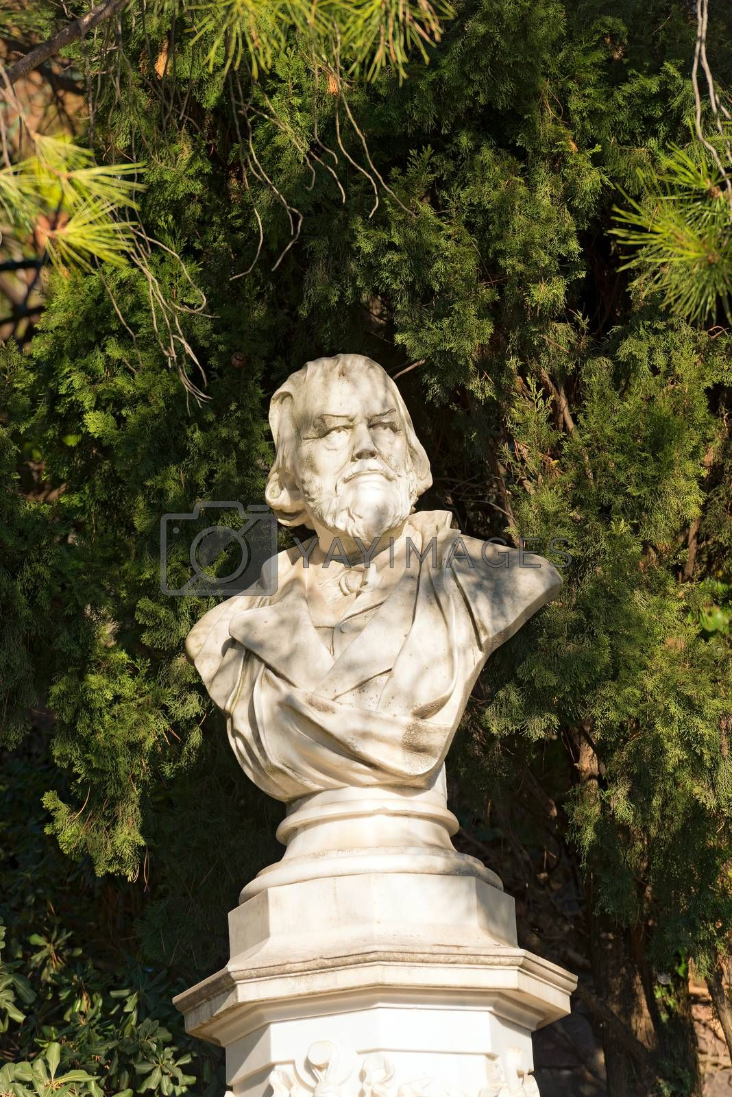 Detail of the marble bust of the Doctor Franz Tappeiner (1816-1902), botanist and anthropologist in Merano, Bolzano, Trentino Alto Adige, Italy