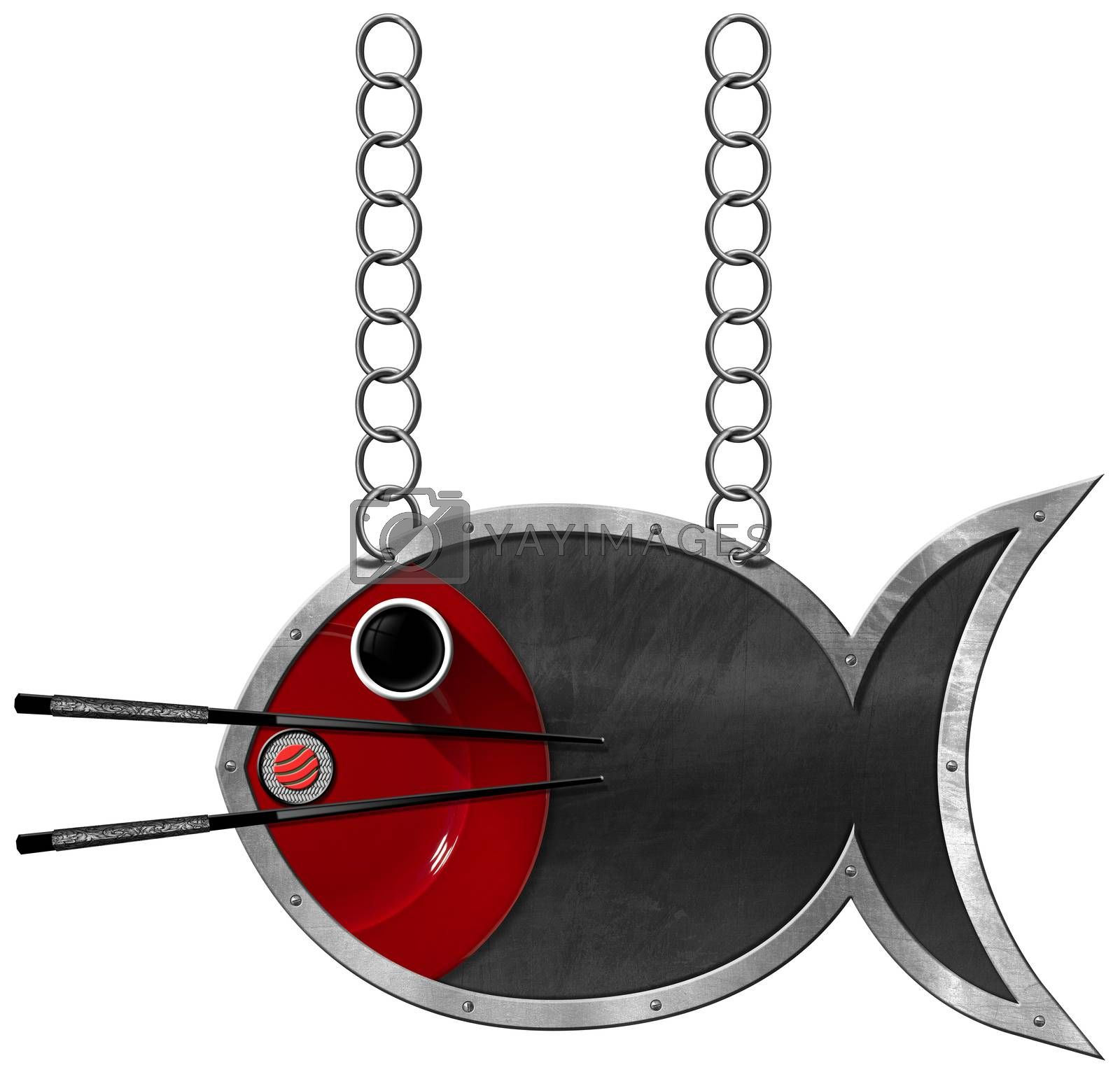 Blackboard with metal frame in the shape of fish, chopsticks, sushi roll, bowl of sauce and red plate. Template for a sushi menu