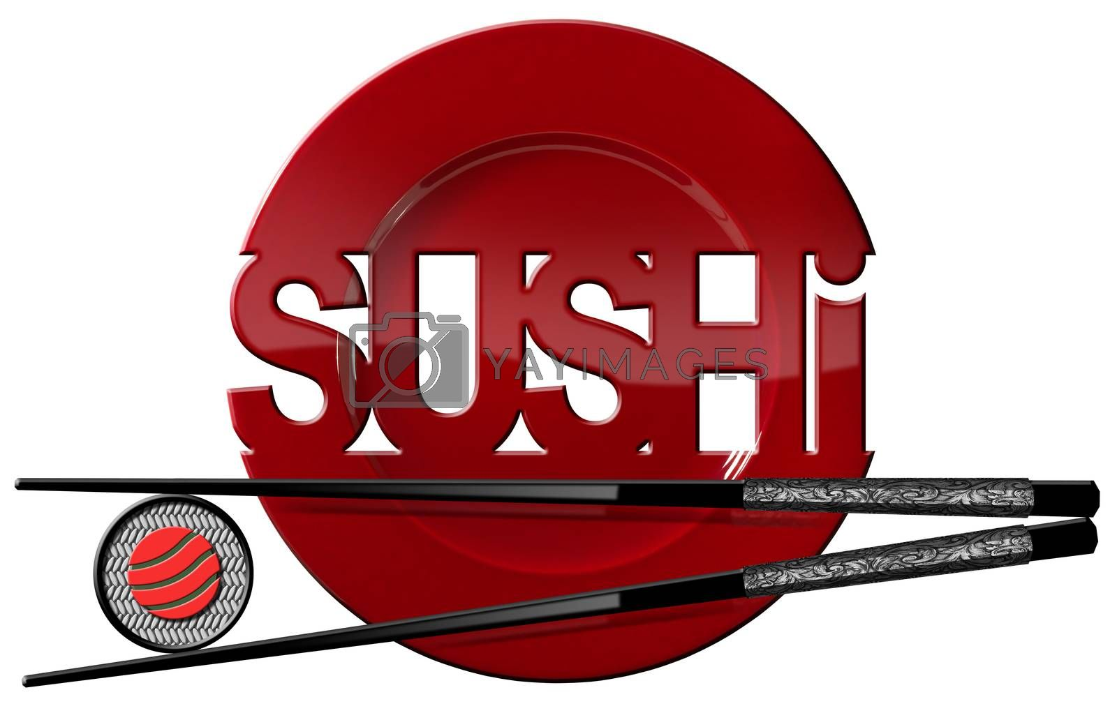 Sushi symbol with red plate, sushi roll, black and silver chopsticks and text Sushi. Isolated on white background