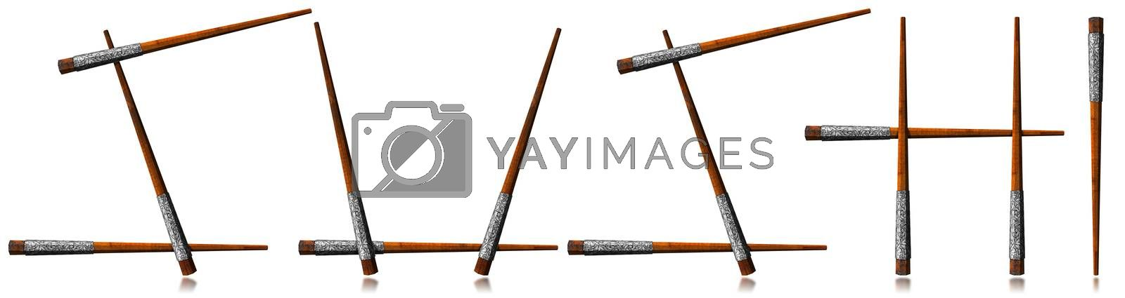 Silver and wooden chopsticks in the shape of the text Sushi. Isolated on white background