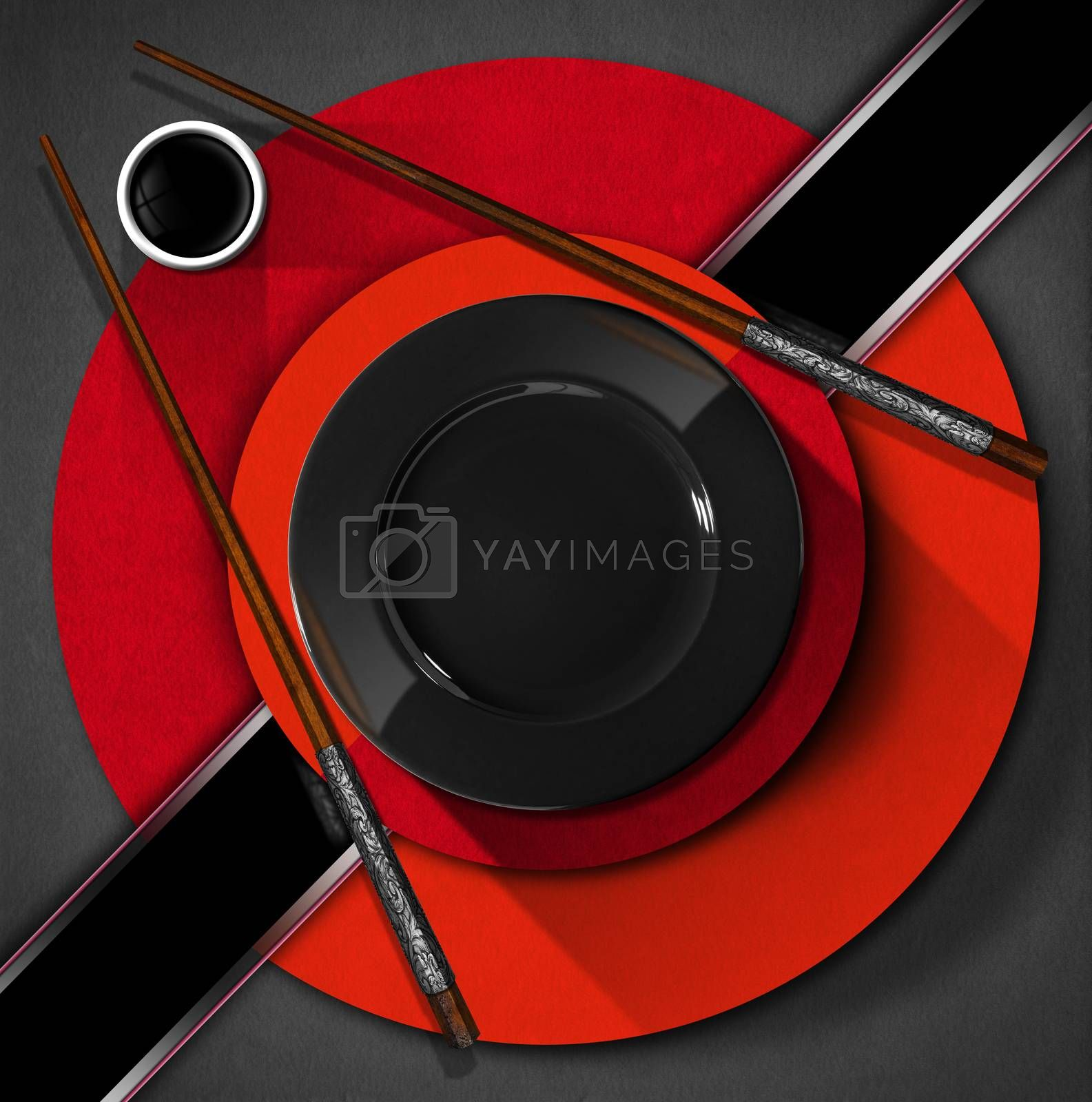 Template for an Asian menu with wooden and silver chopsticks, black plate and a bowl of sauce. On a red, black and grey background