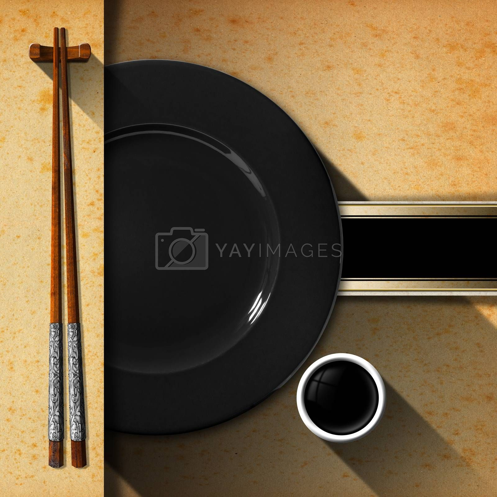 Template for an Asian menu with wooden and silver chopsticks, black plate and a bowl of sauce. Black band with space for text on yellowed paper