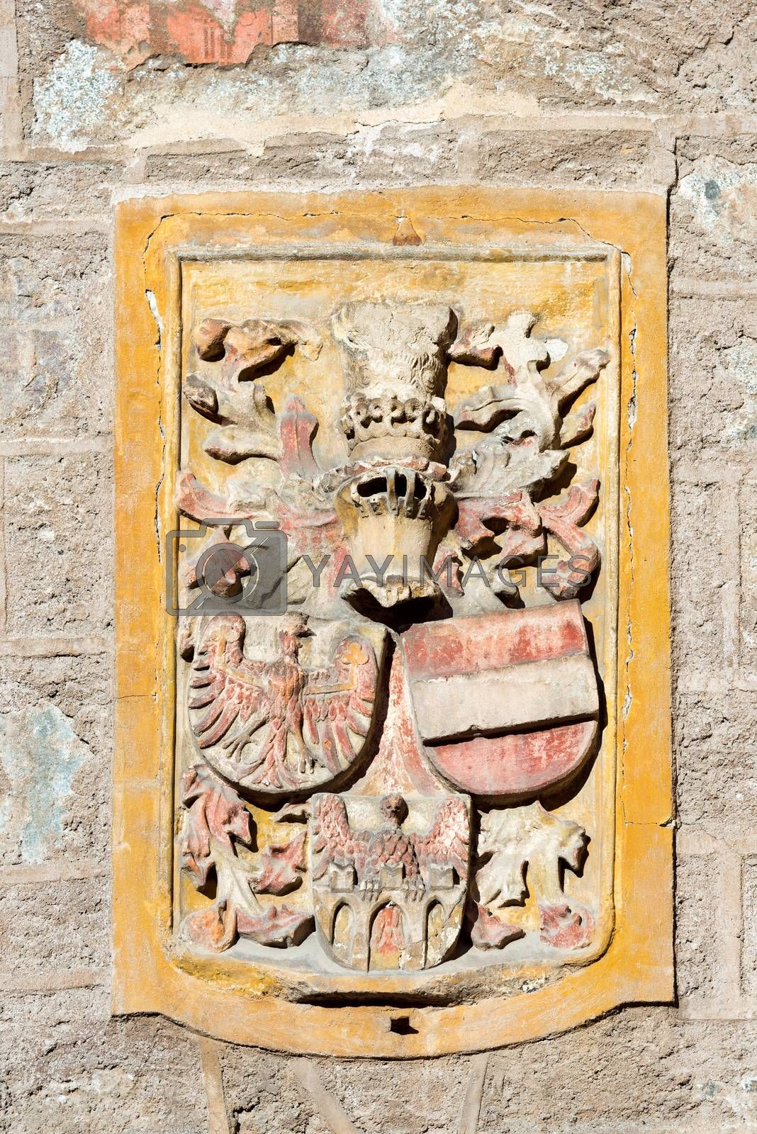 Detail of the Porta Bolzano (XIV century) with the emblems of Austria, Tyrol and Merano. Merano, Bolzano, Trentino Alto Adige, Italy