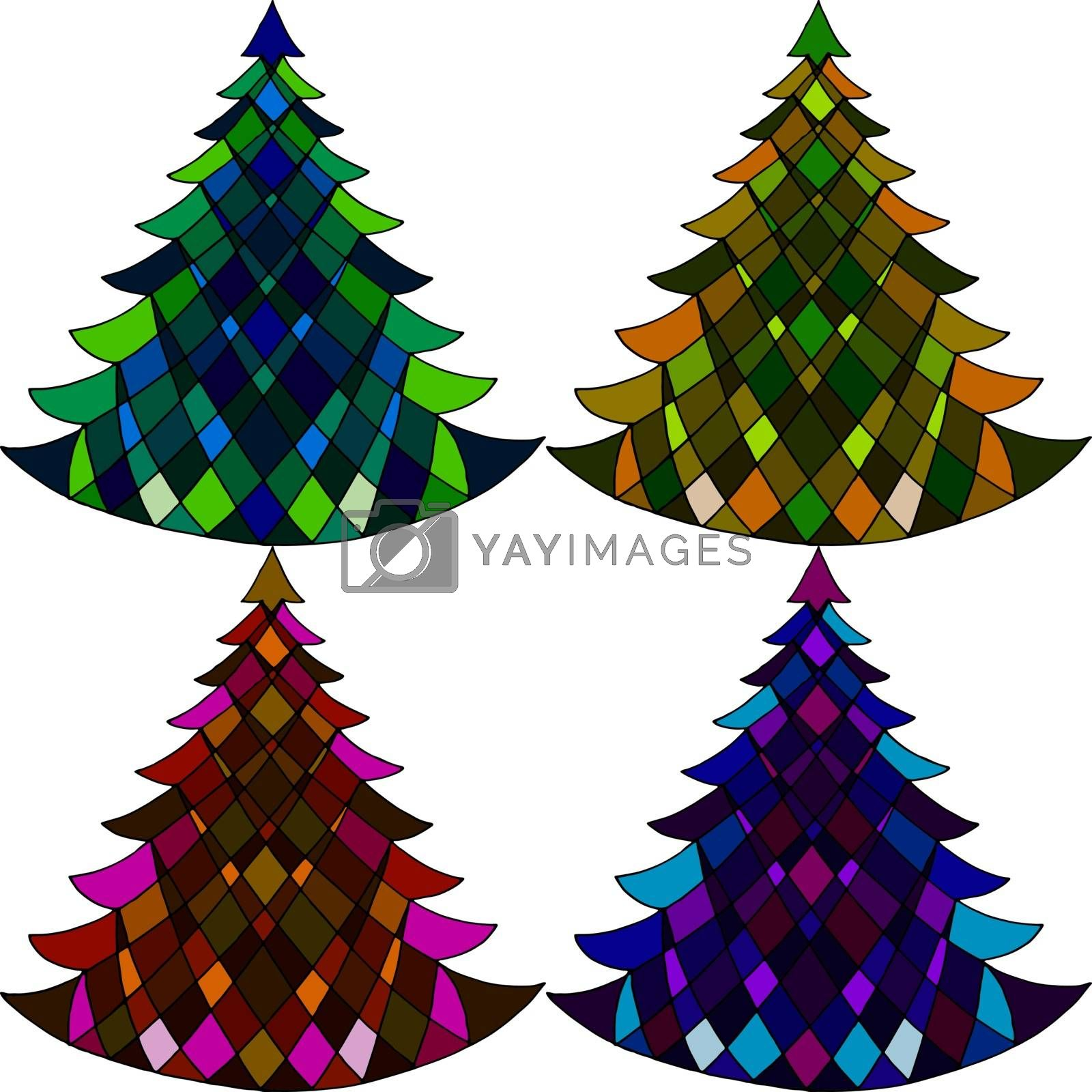 Royalty free image of Vector seamless pattern of four Christmas trees by olga_ovchinnikova