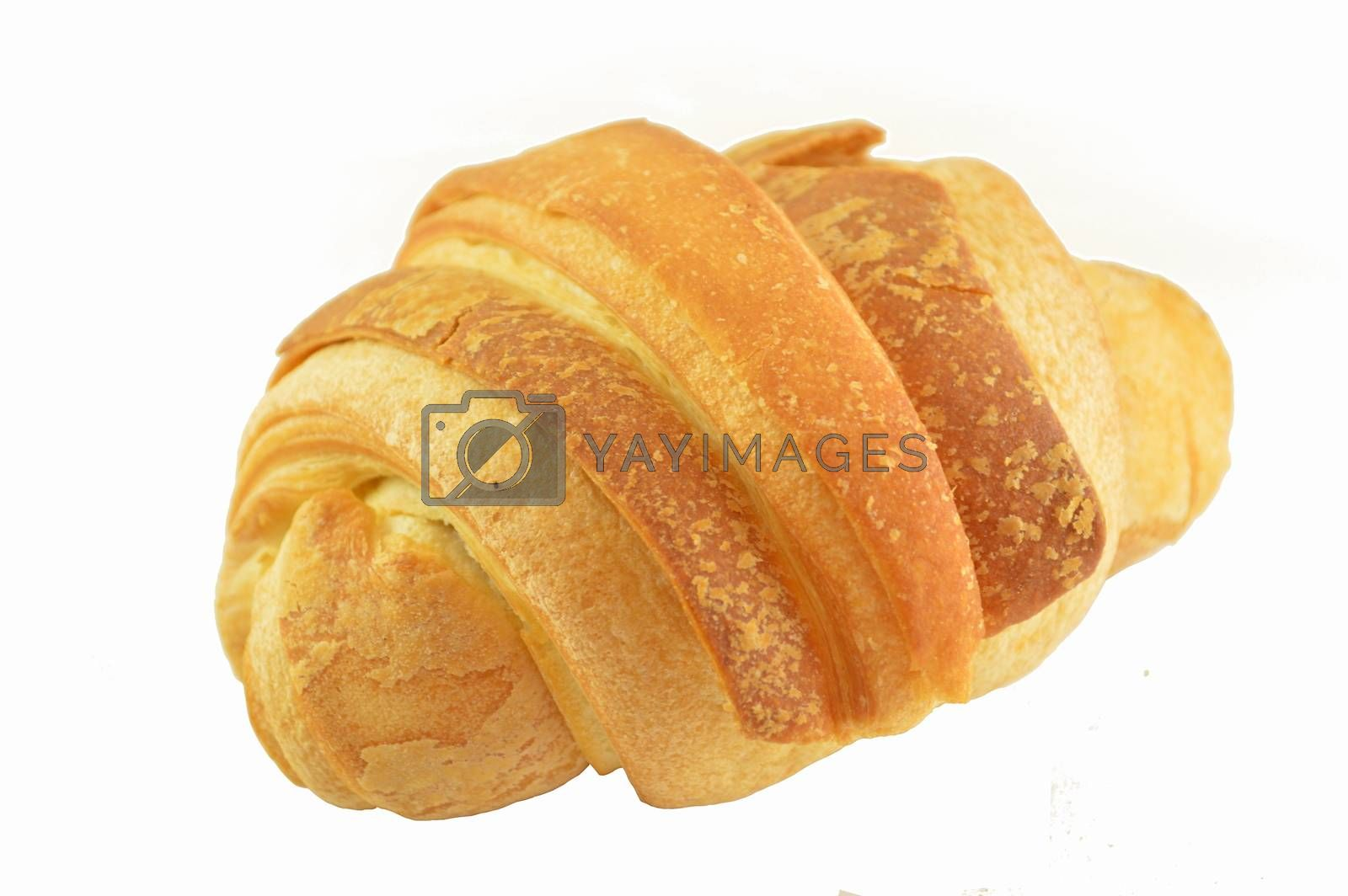 Butter croissant isolated on white background