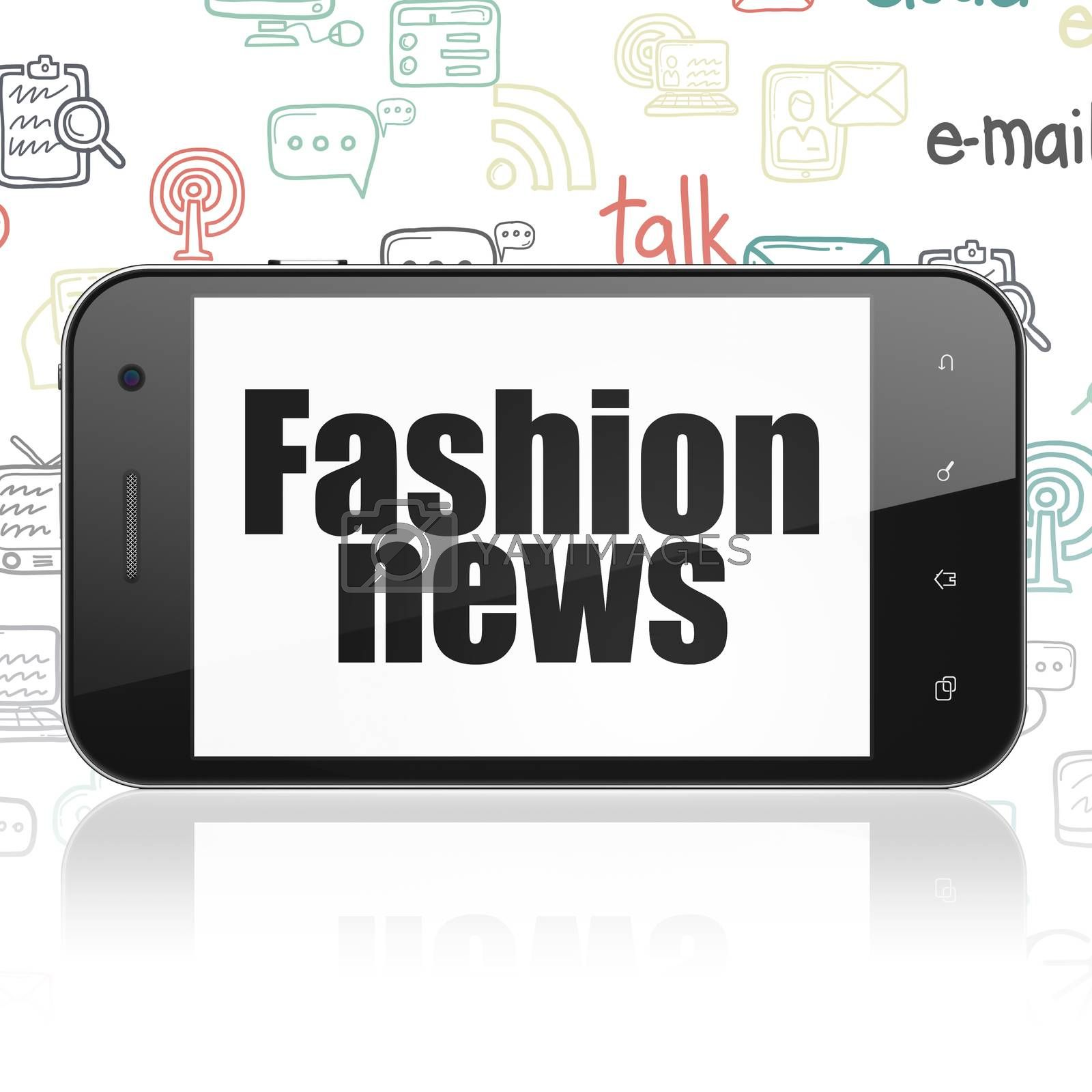 News concept: Smartphone with  black text Fashion News on display,  Hand Drawn News Icons background