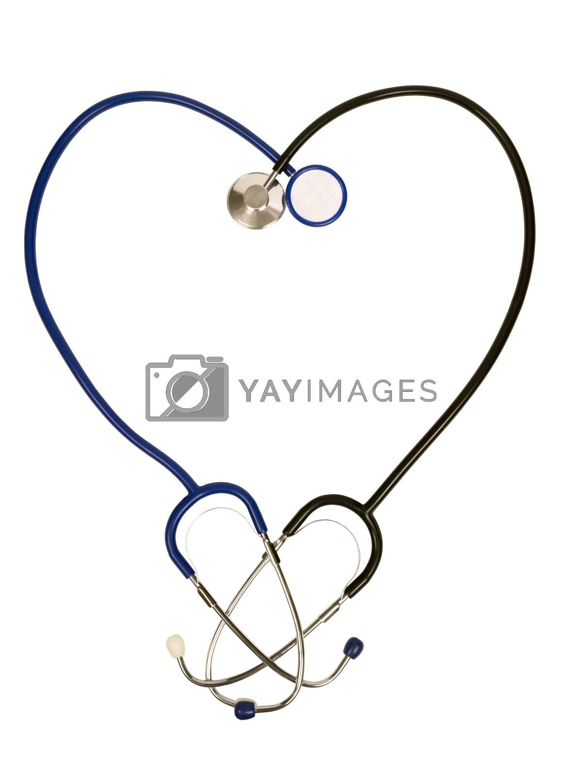 Two stethoscopes in the shape of a heart.  Take care of your heart.  Isolated on white