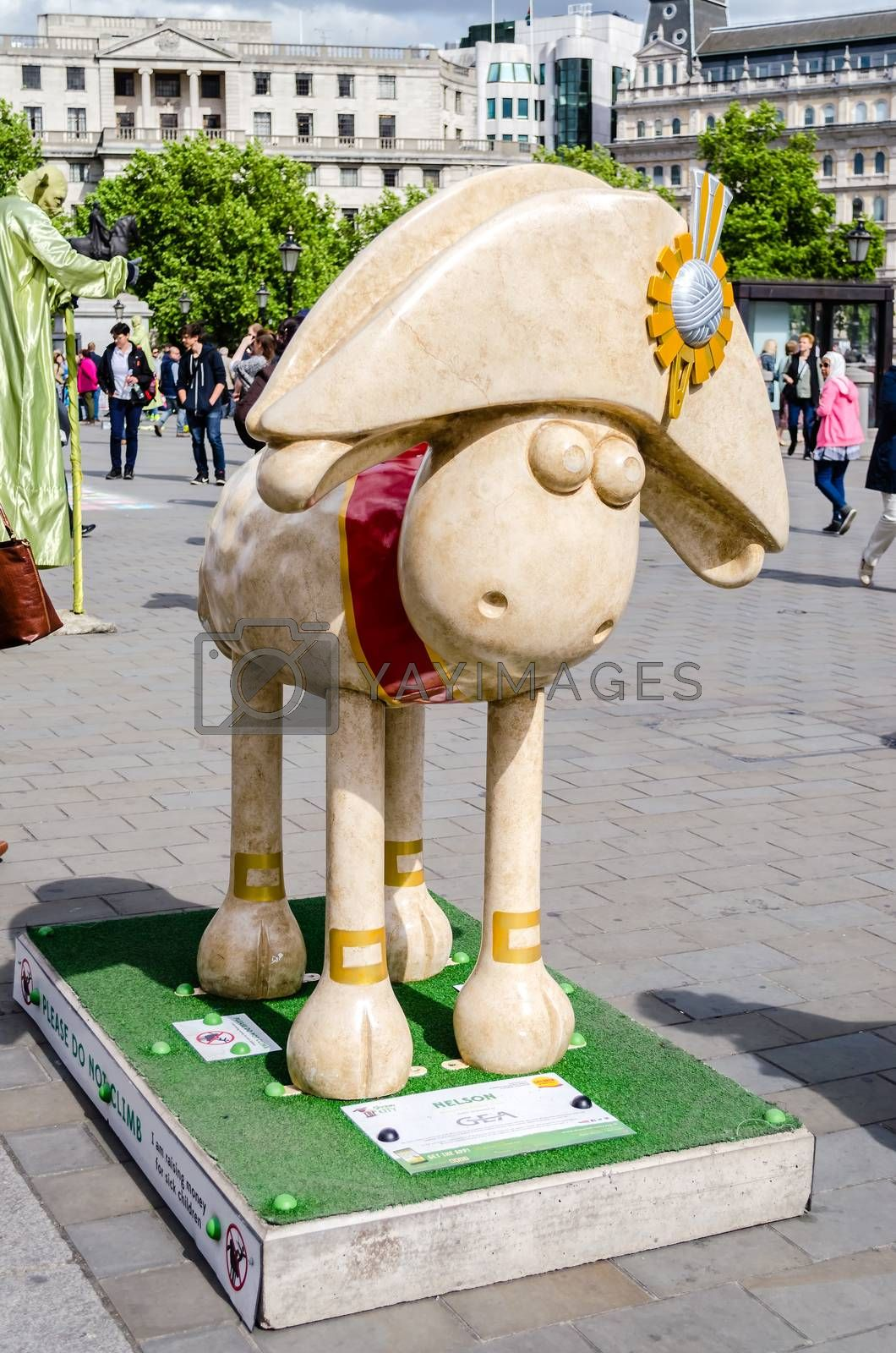 LONDON - MAY 28: Aardman's Shaun the Sheep character on display in Trafalgar Square, London, May 28, 2015.