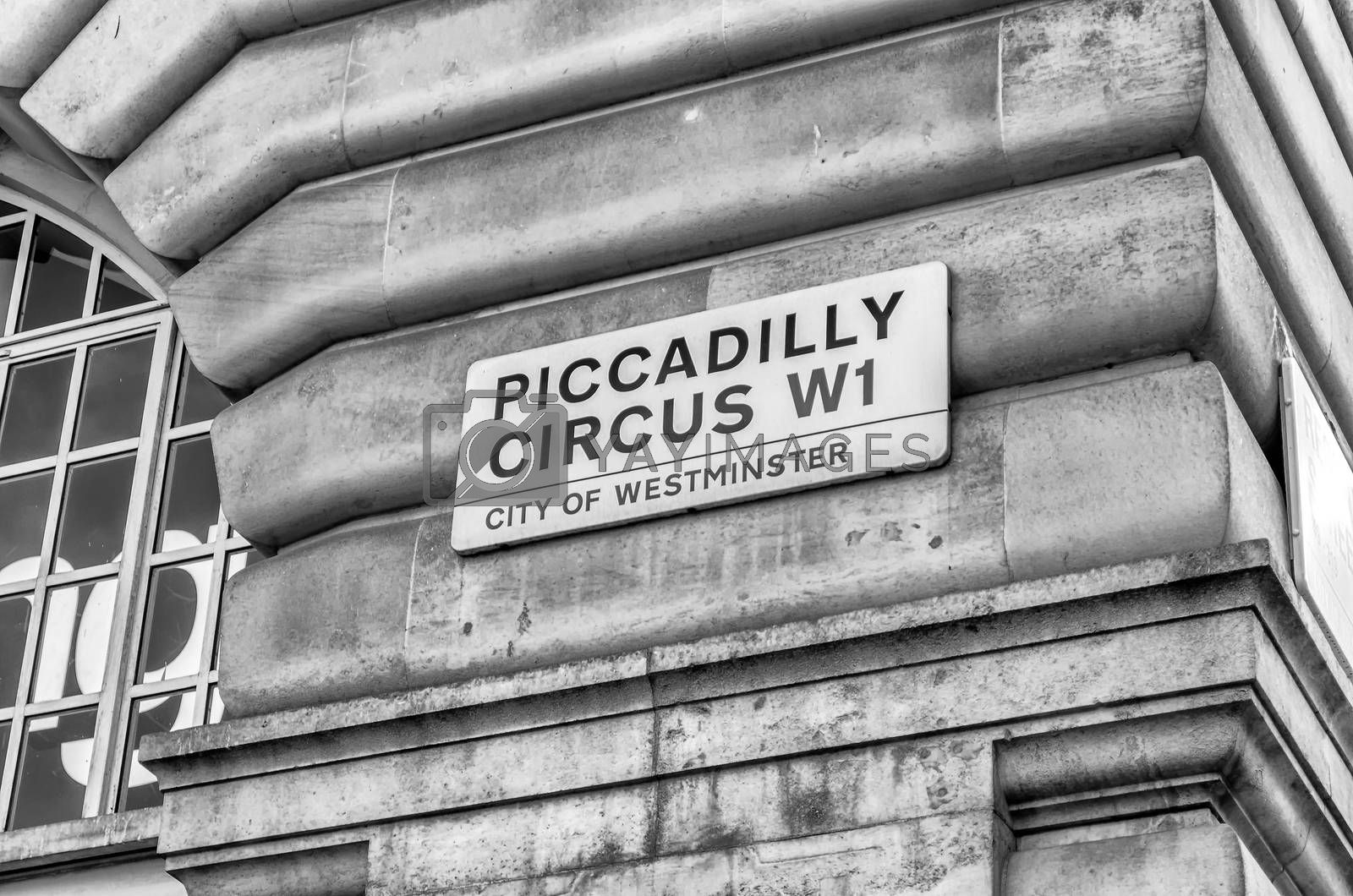 LONDON - MAY 28: Sign for Piccadilly Circus on May 28, 2015, in London, UK. The Circus is close to major shopping and entertainment areas in the West End