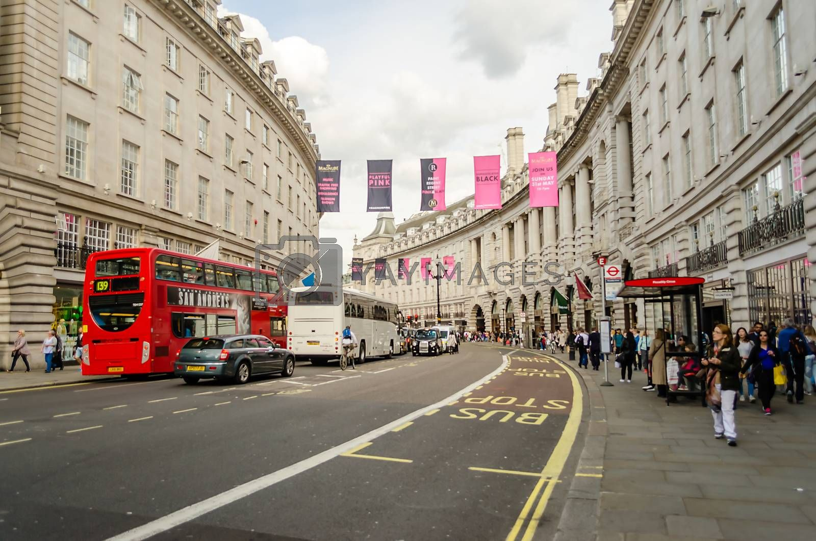 LONDON - MAY 28: Regent's street on May 28, 2015, in London, UK. It was named after Prince Regent, completed in 1825. It is one of the main shopping streets in London.
