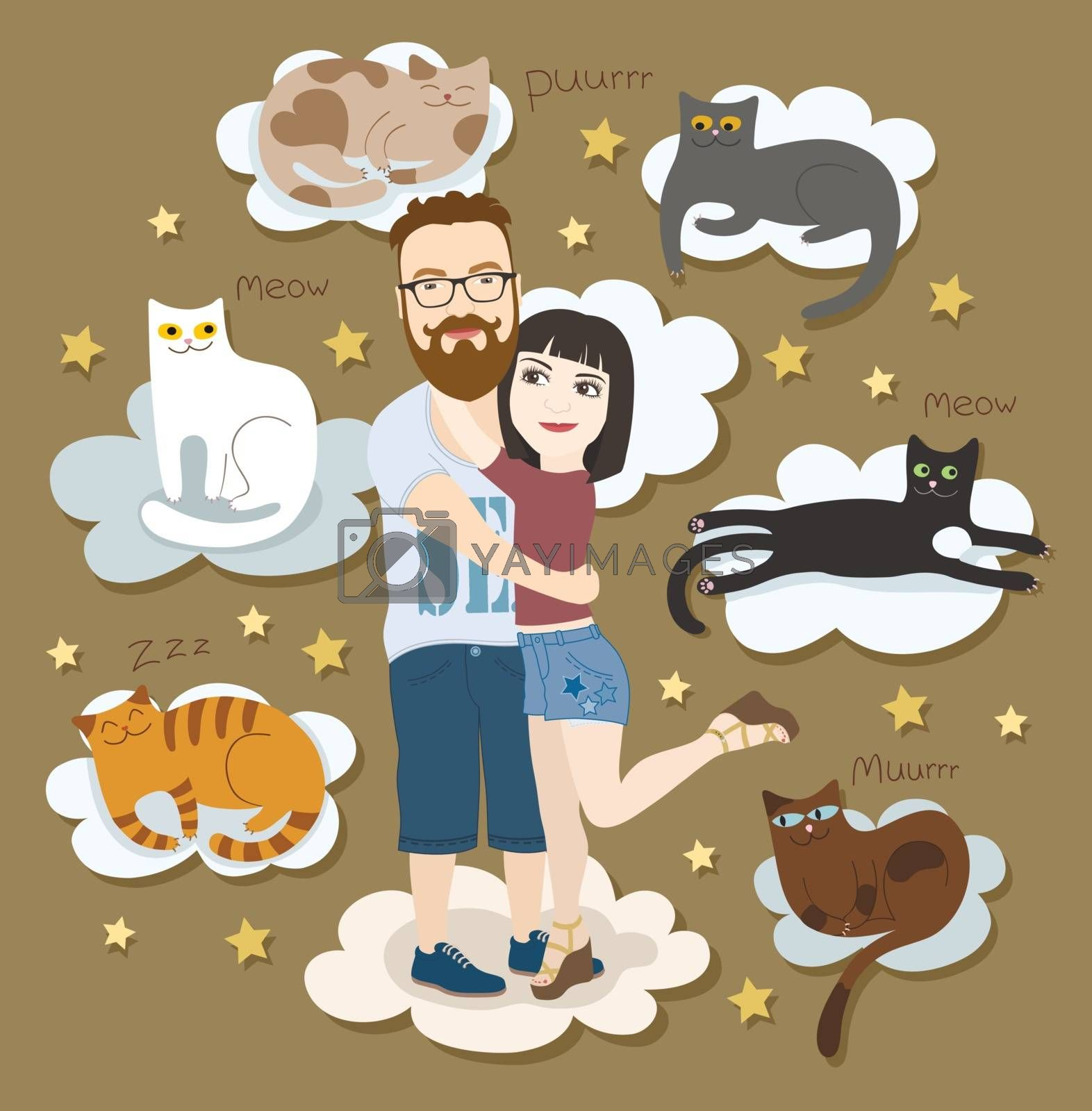 Couple in love with cats