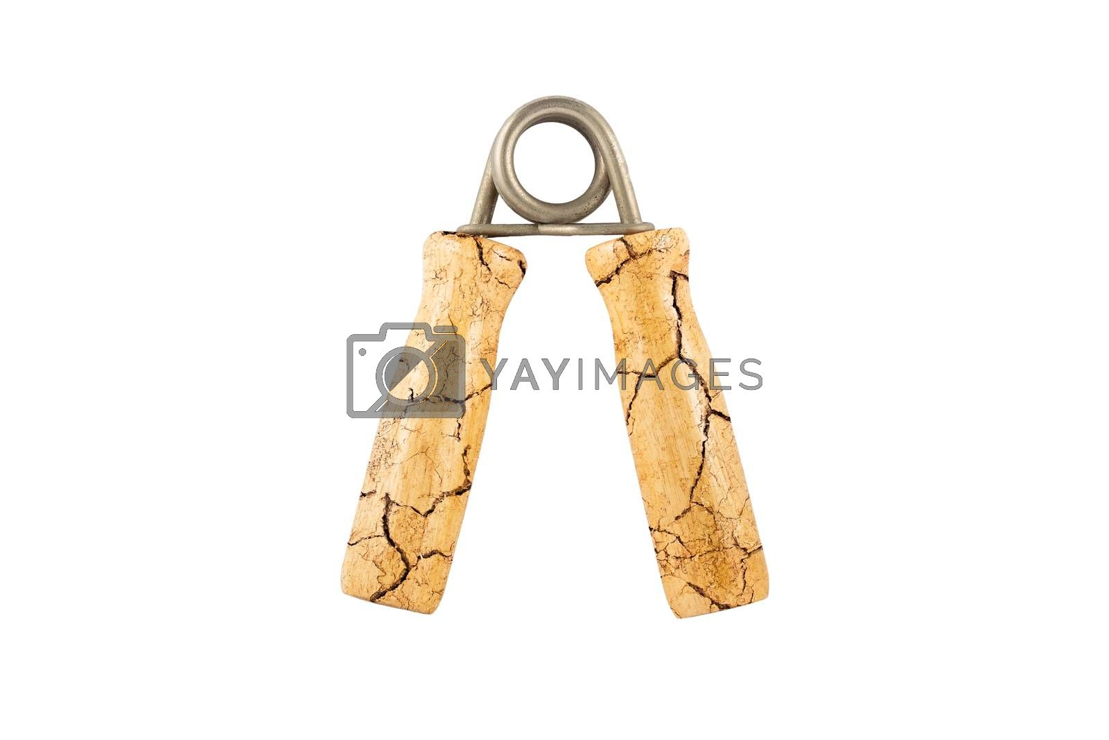Wood hand grip cracked on isolated white background