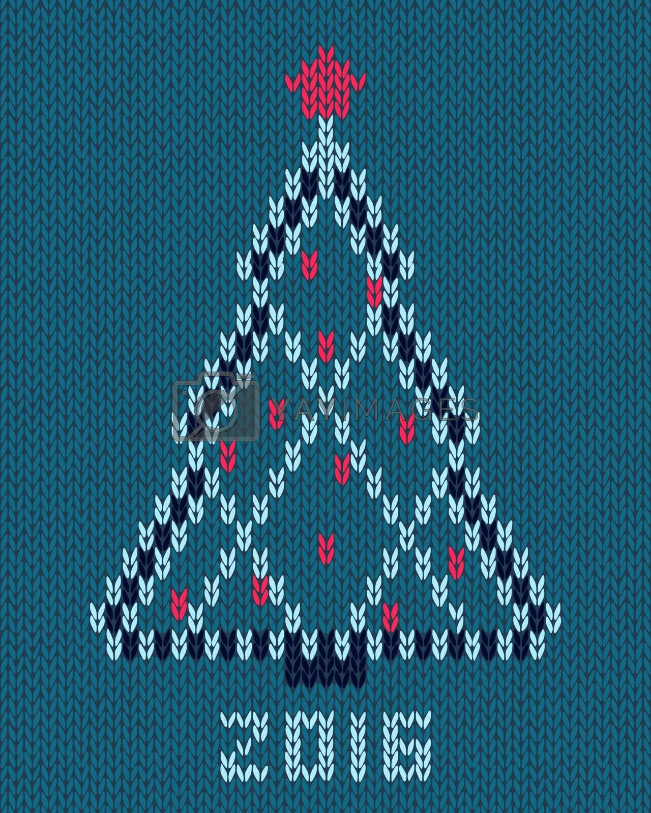 Christmas stylized tree with red star and balls. New year 2016 card. Knitted hand made embroidery pattern