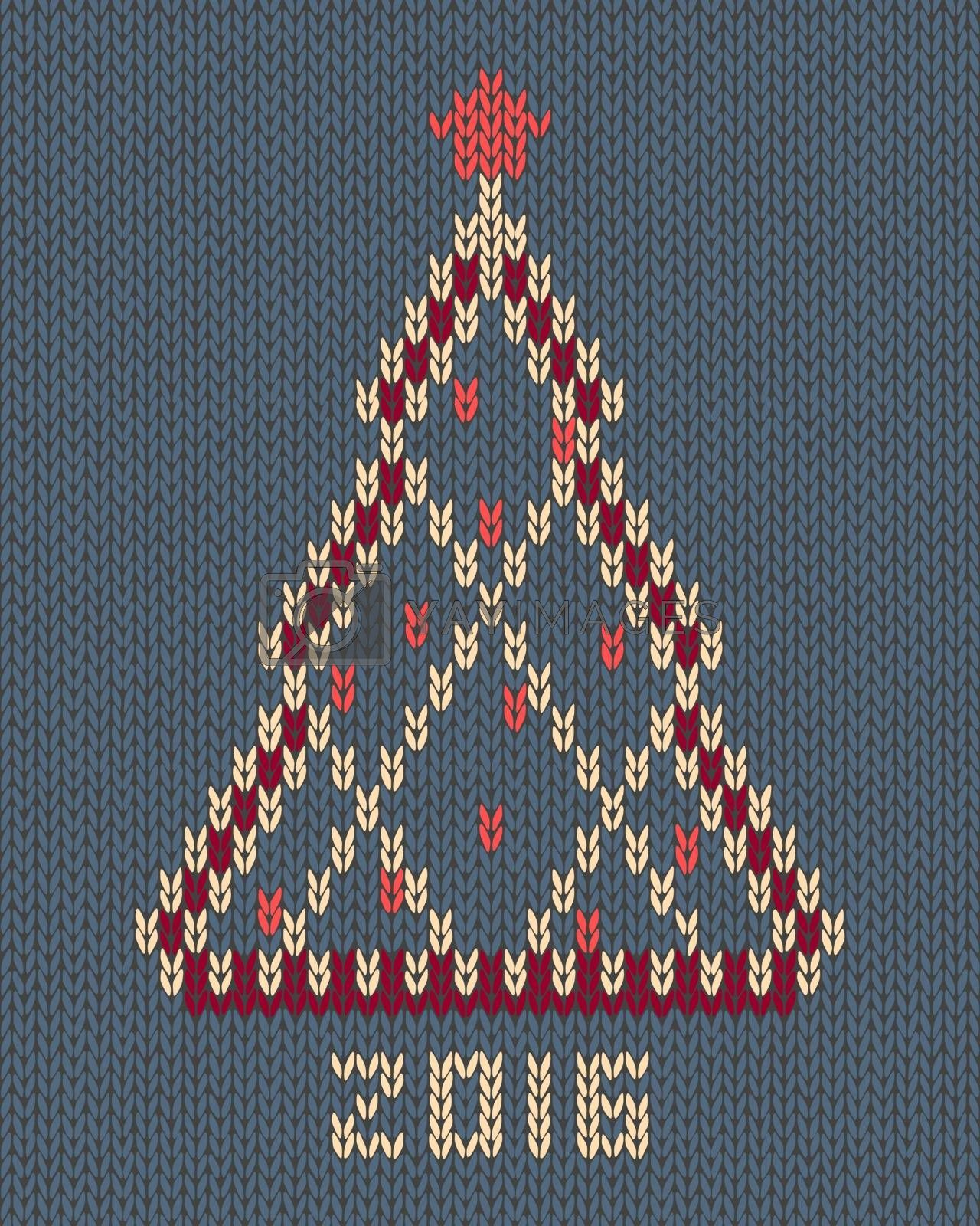 Christmas tree with red stylized star and balls. New year 2016 vintage card. Knitted hand made embroidery seamless pattern
