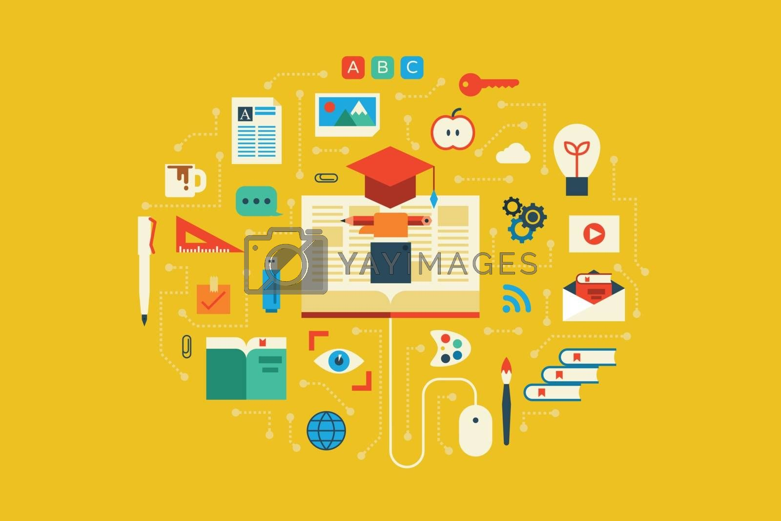 Illustration of education flat design concept with icons elements