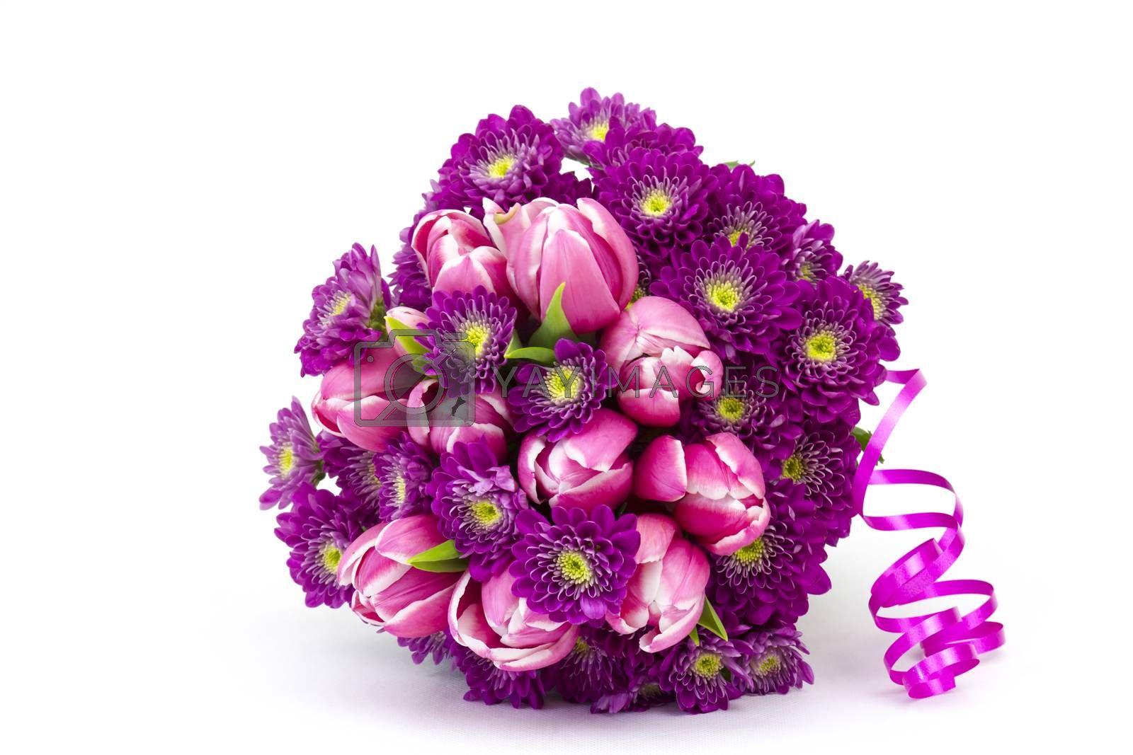 Bouquet made of tulips and chrysanthemum flowers