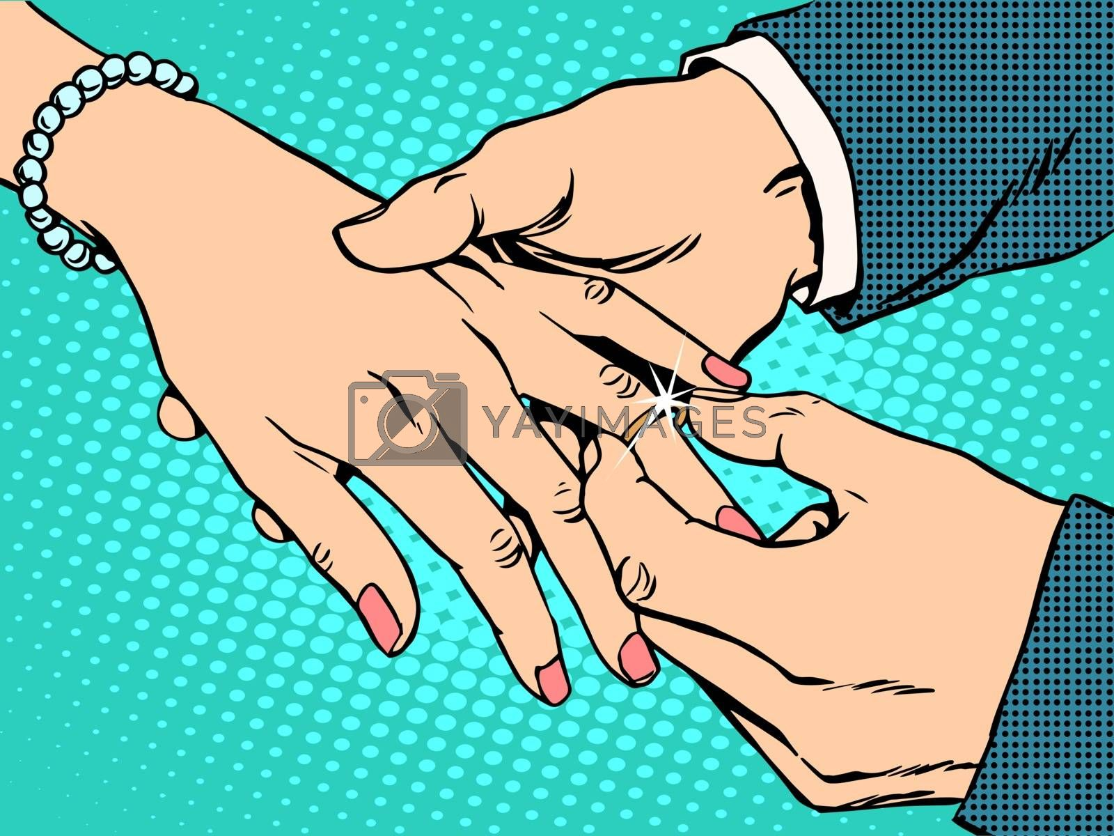 betrothal wedding bride groom gold ring pop art retro style. Man woman and the wedding ring. Jewelry. Love and romance