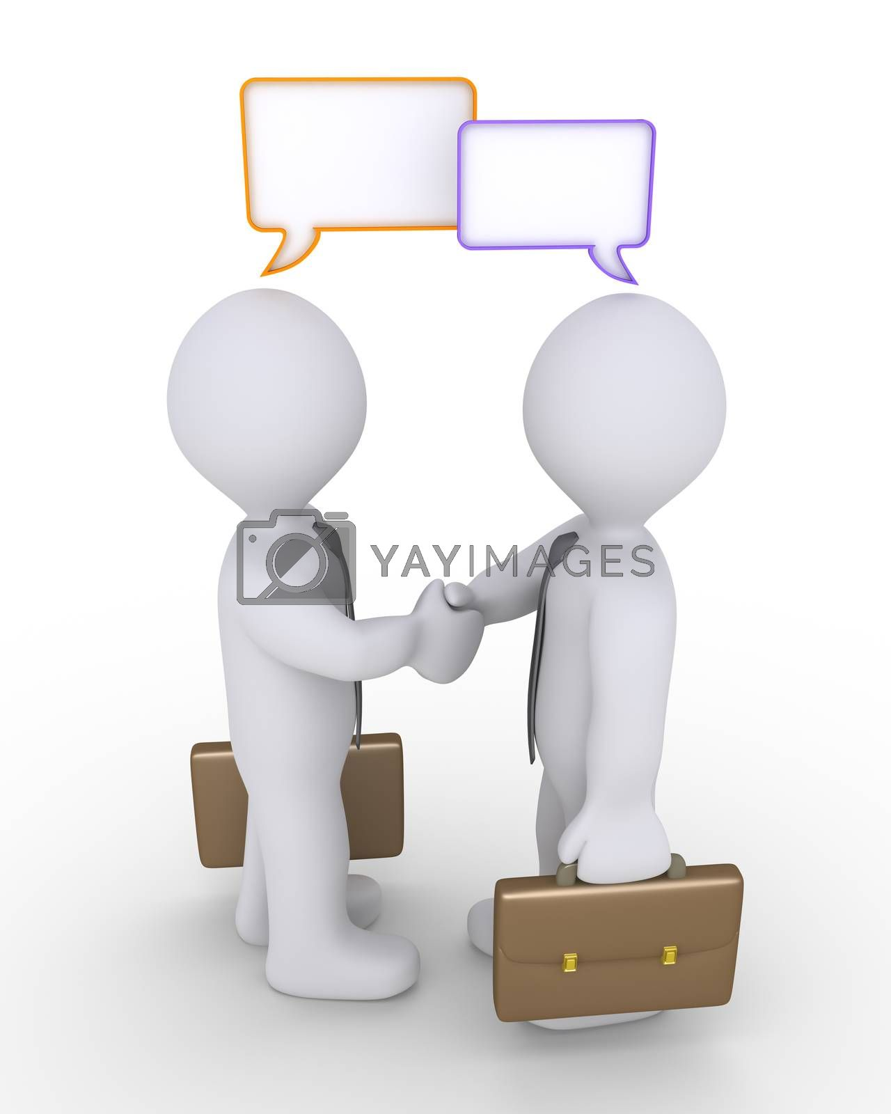 Businessmen shake hands and two blank speech bubbles are above their heads