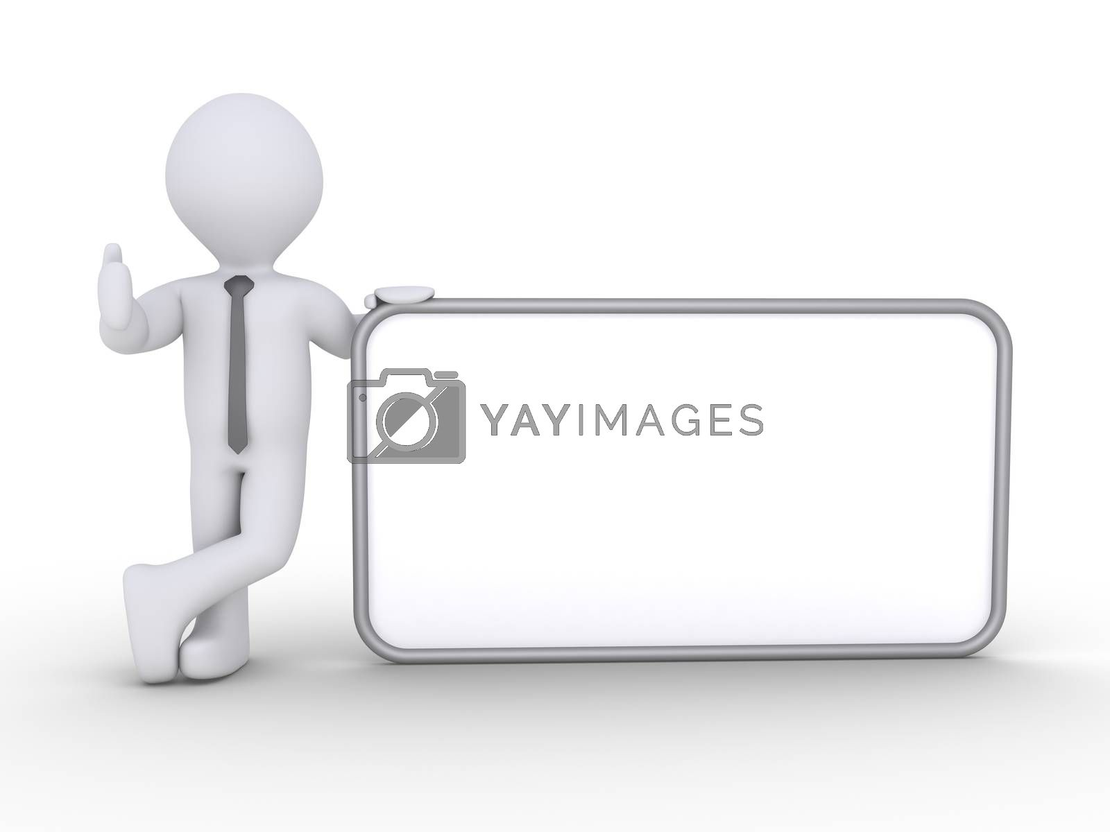 Happy businessman is standing next to a blank sign