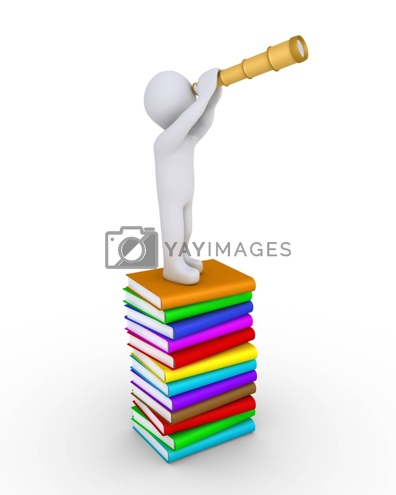 Person is looking through a telescope while standing over a pile of stacked books