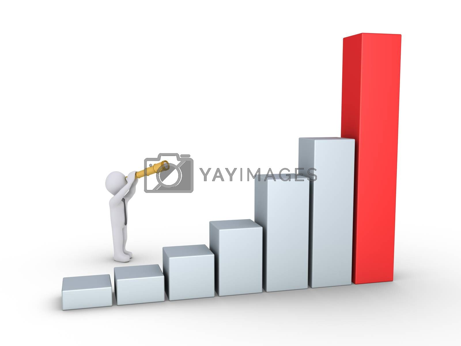 Businessman is looking through a telescope at a rising graphic chart made by columns