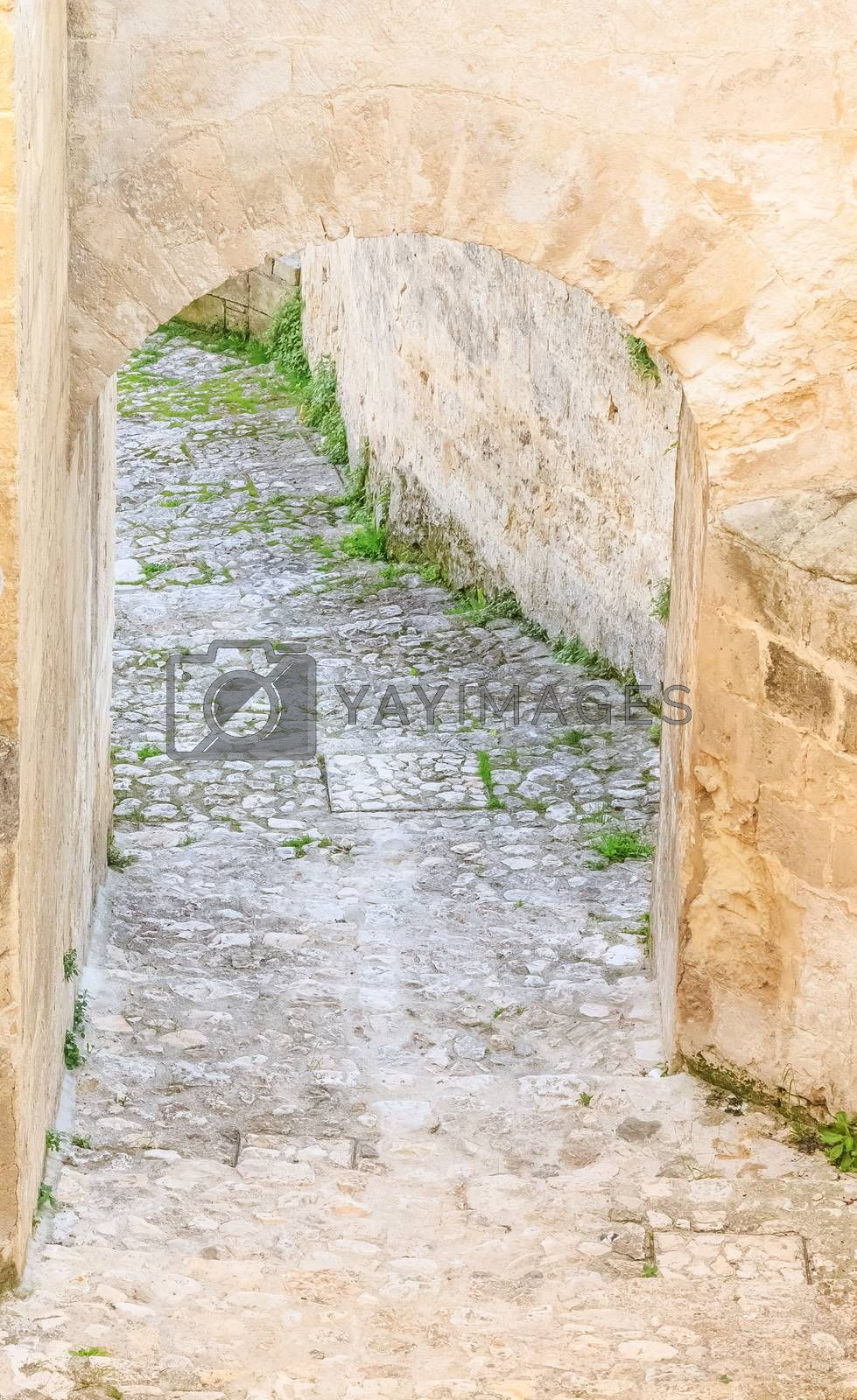 stairs of stones, the historic building in Matera in Italy UNESCO European Capital of Culture 2019, details of old stairs