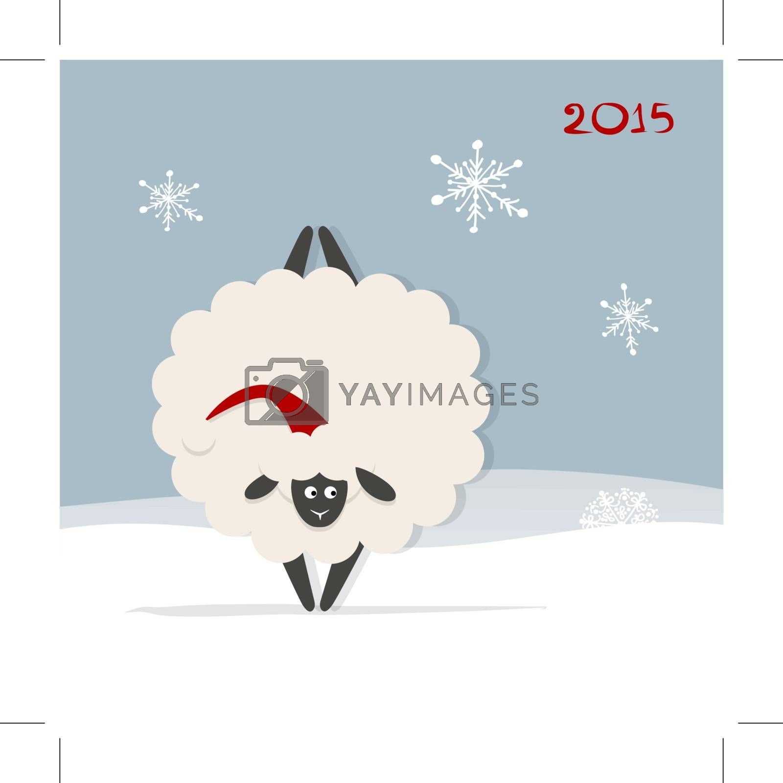 Funny sheep santa, symbol of new year 2015. Vector illustration