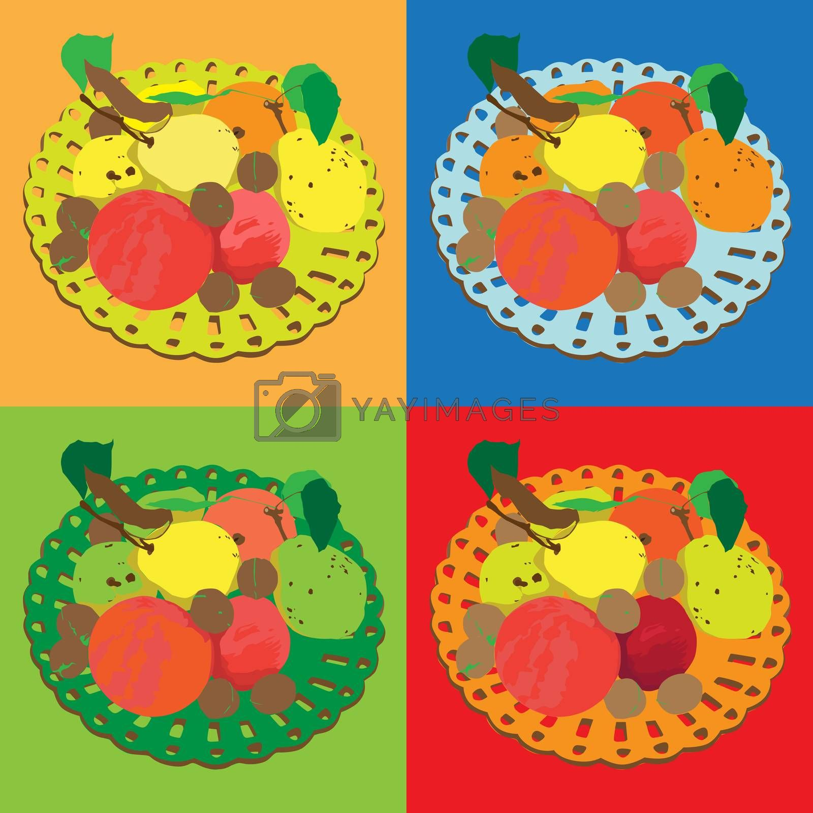 Autumn tile composition series, four different colored hand drawn illustrations  of the same plate with fruits