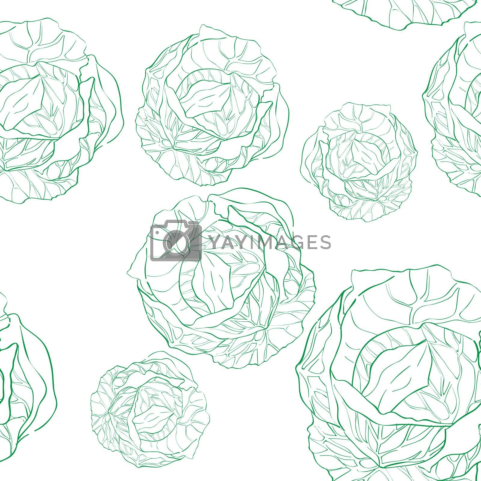 Cabbage seamless pattern, doodle illustration of multiple vegetables isolated on white