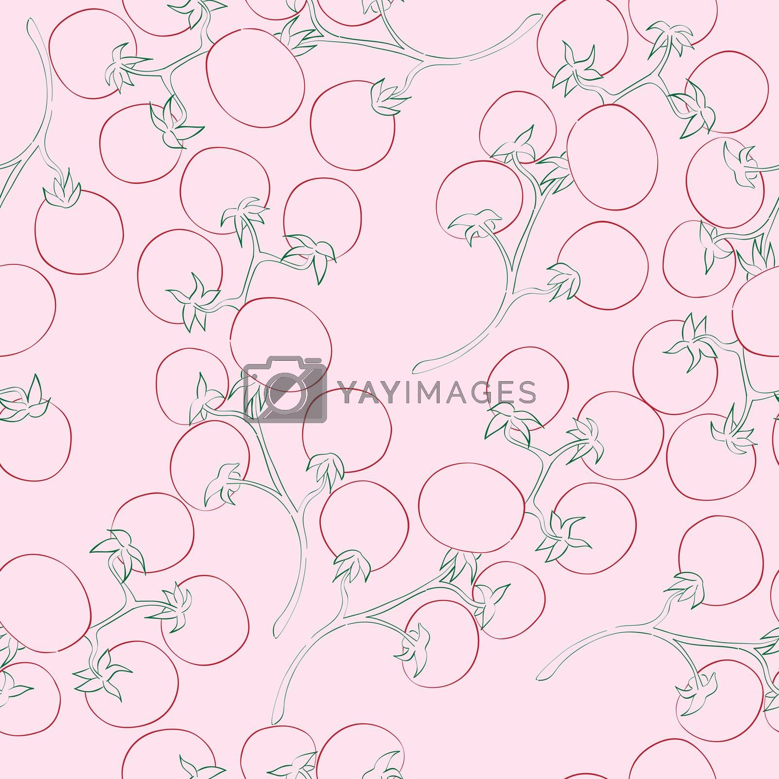 Seamless pattern with doodle illustrations of cherry-tomatoes ovev a pink background