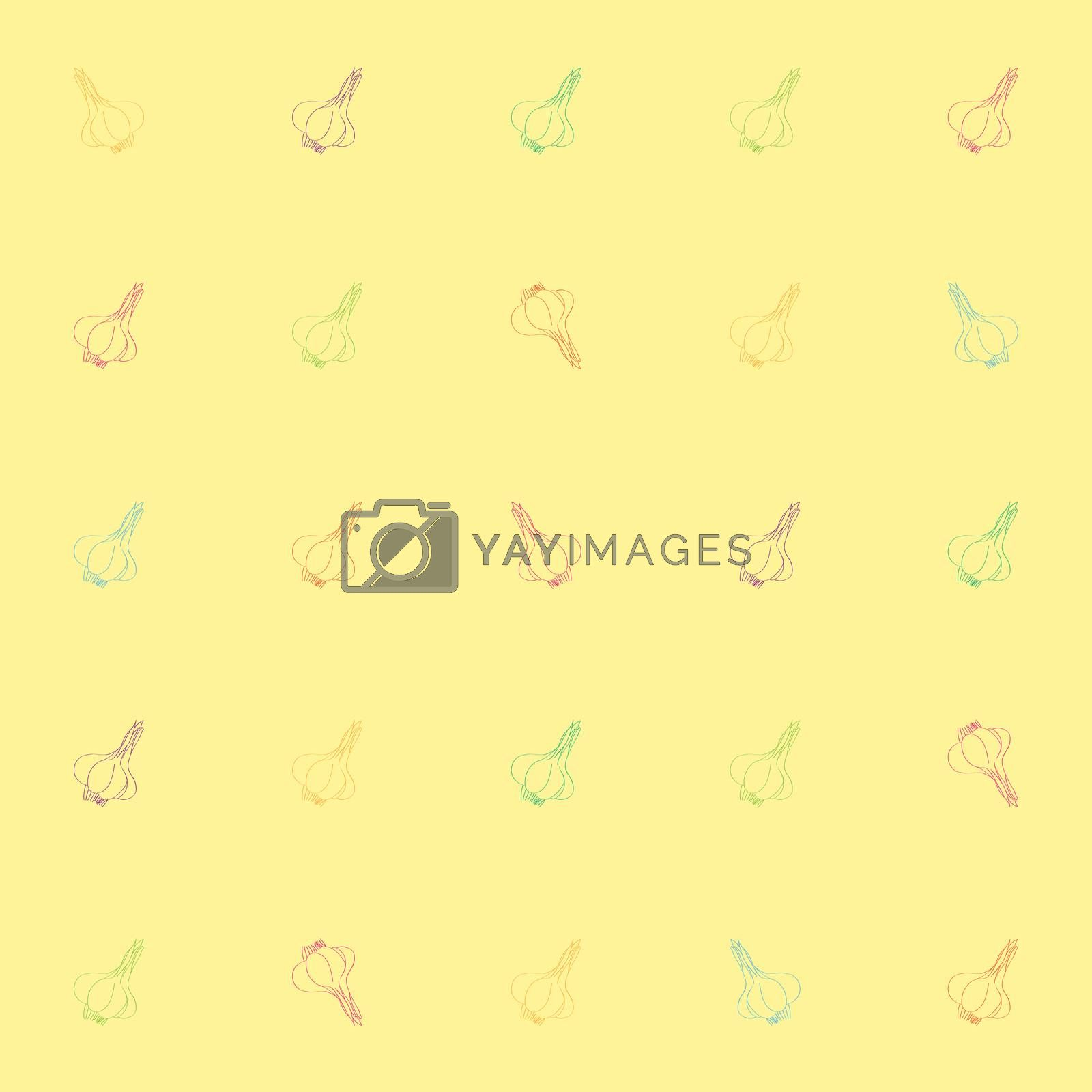 Seamless pattern with garlic, doodle illustration of multicolored cloves over a yellow background