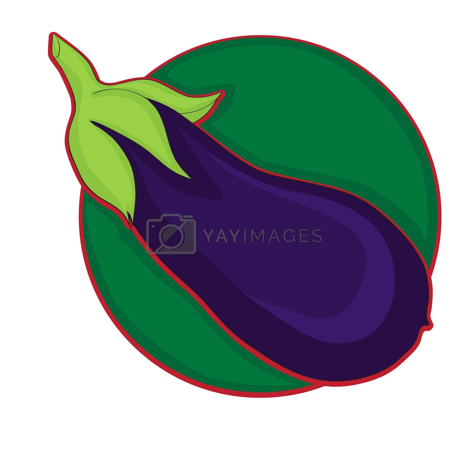 Eggplant clip art, doodle colored illustration on white