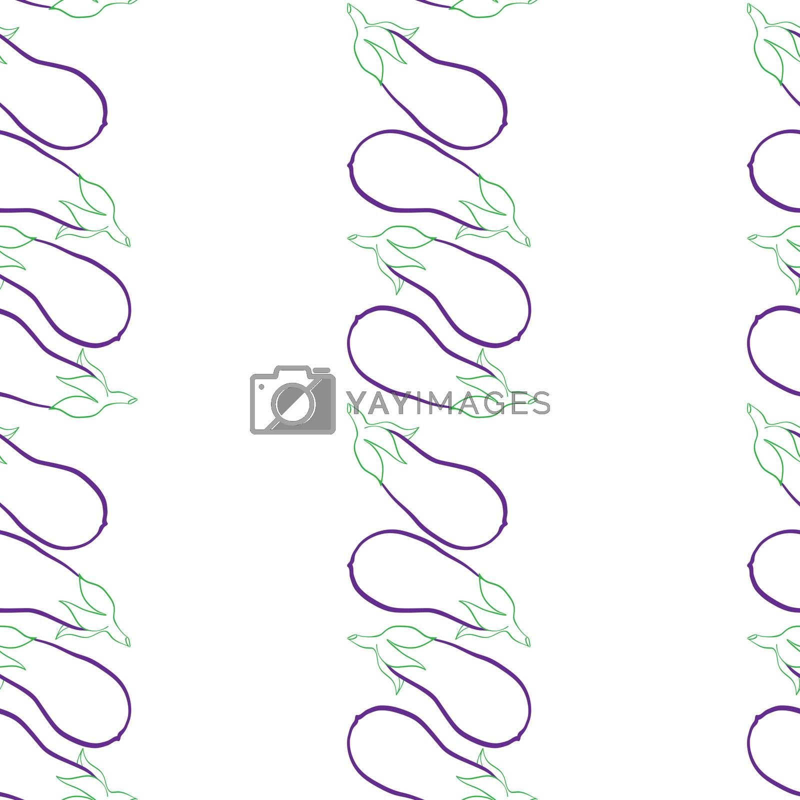 Seamless pattern with eggplants, doodle illustration over white