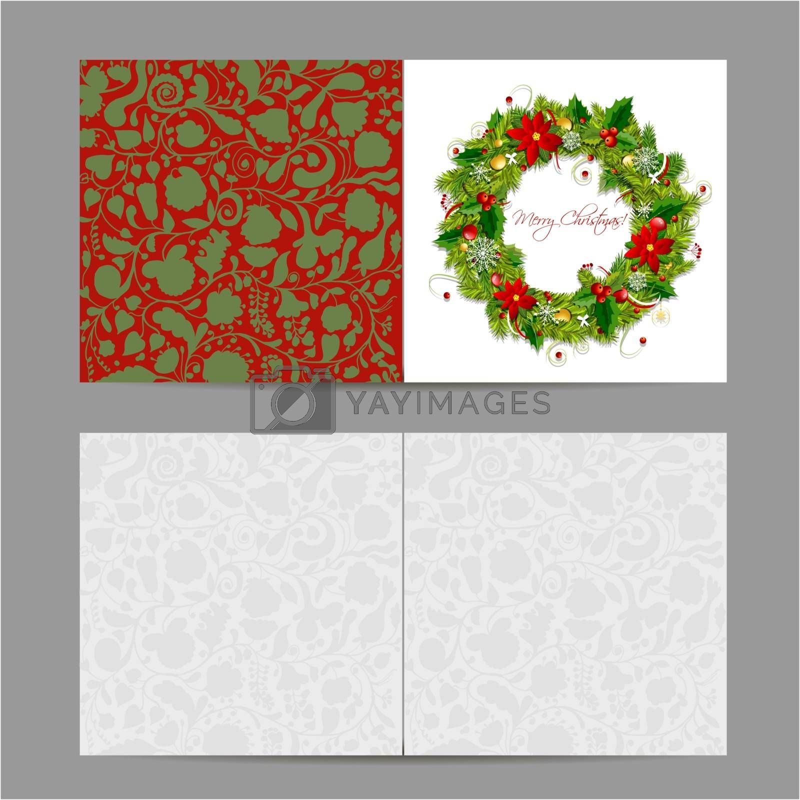 Christmas card, wreath for your design. Vector illustration