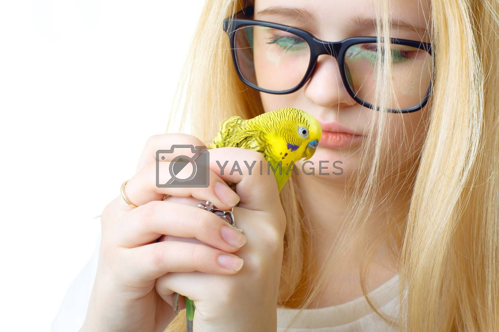 A girl with glasses and a parrot