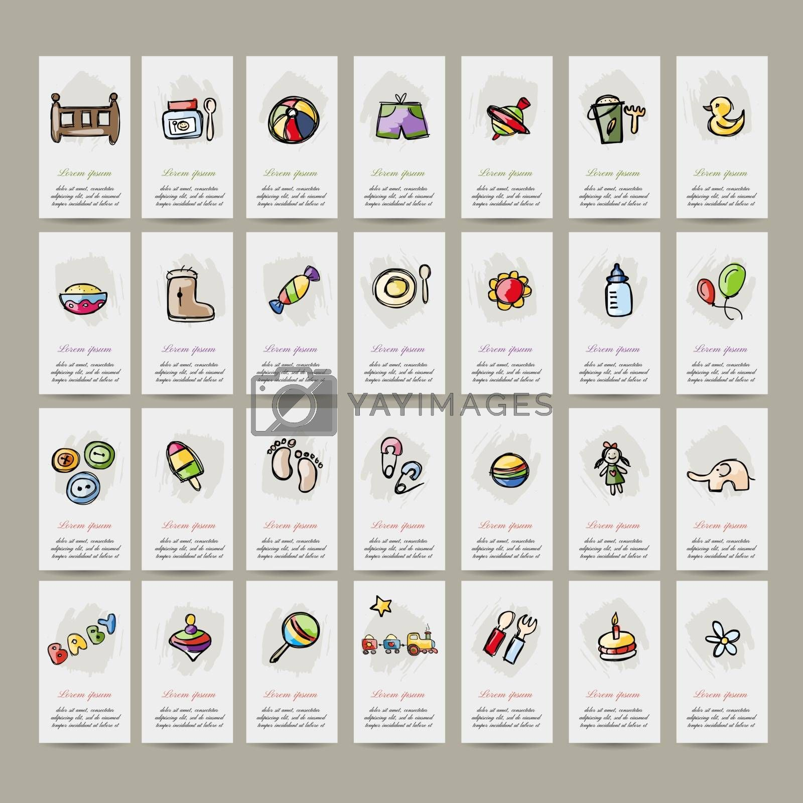 Set of baby icons for your design. Vector illustration
