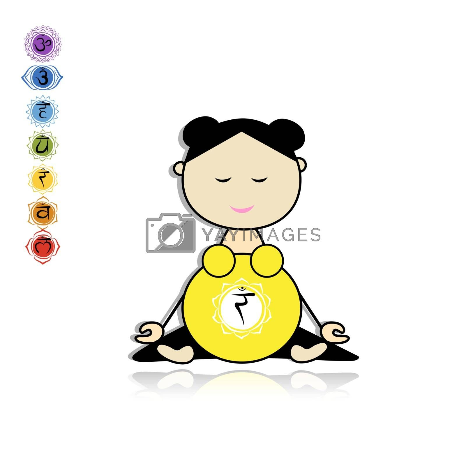 Pregnant yoga, woman in lotus pose for your design. Vector illustration