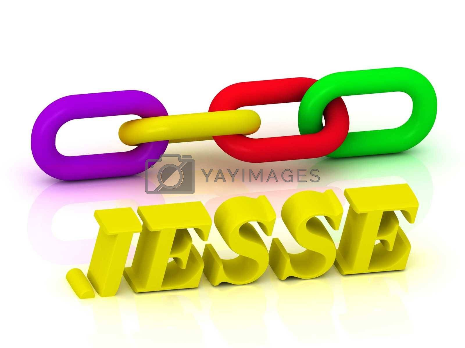 JESSE- Name and Family of bright yellow letters and chain of green, yellow, red section on white background