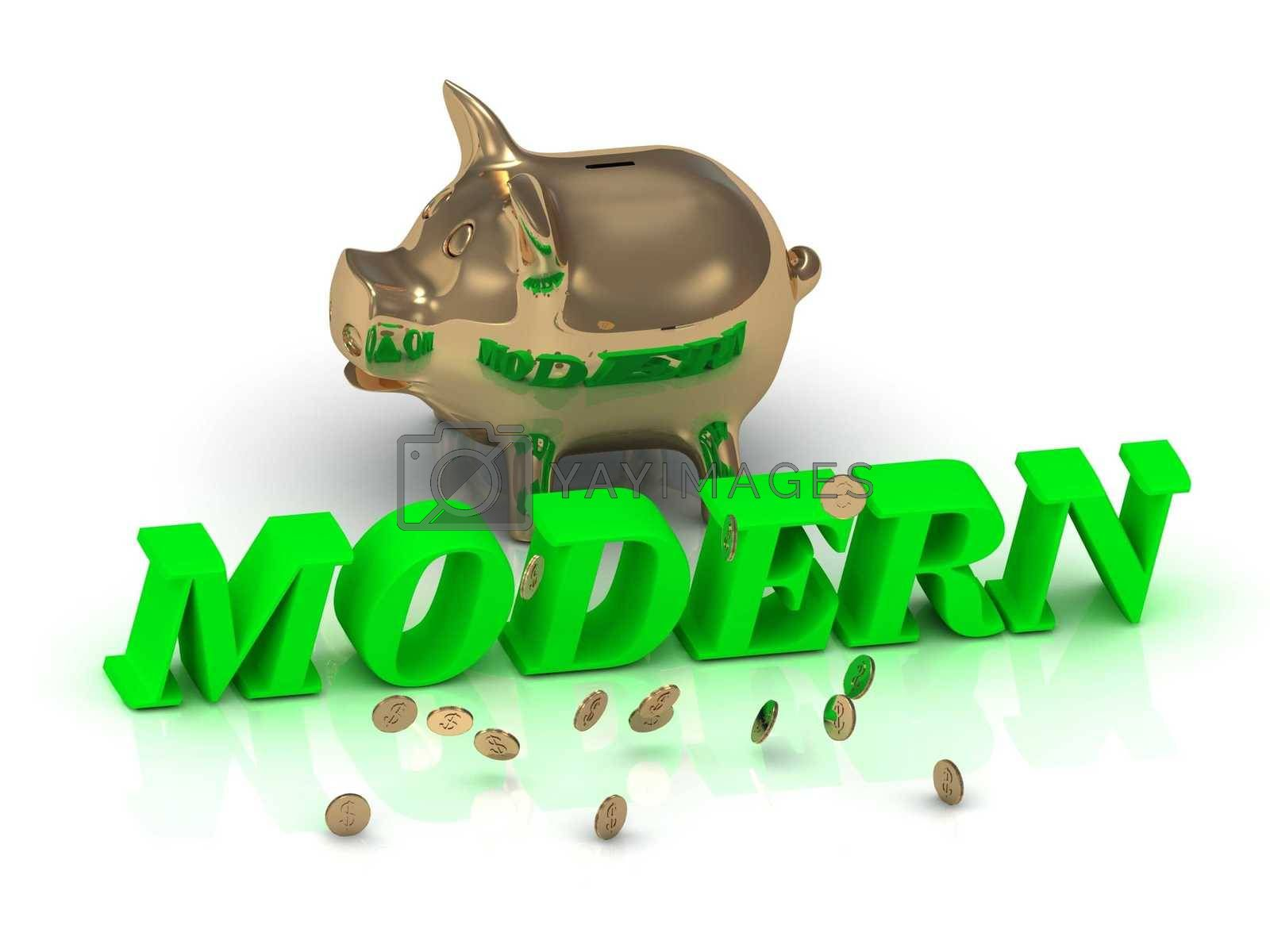MODERN- inscription of green letters and gold Piggy on white background