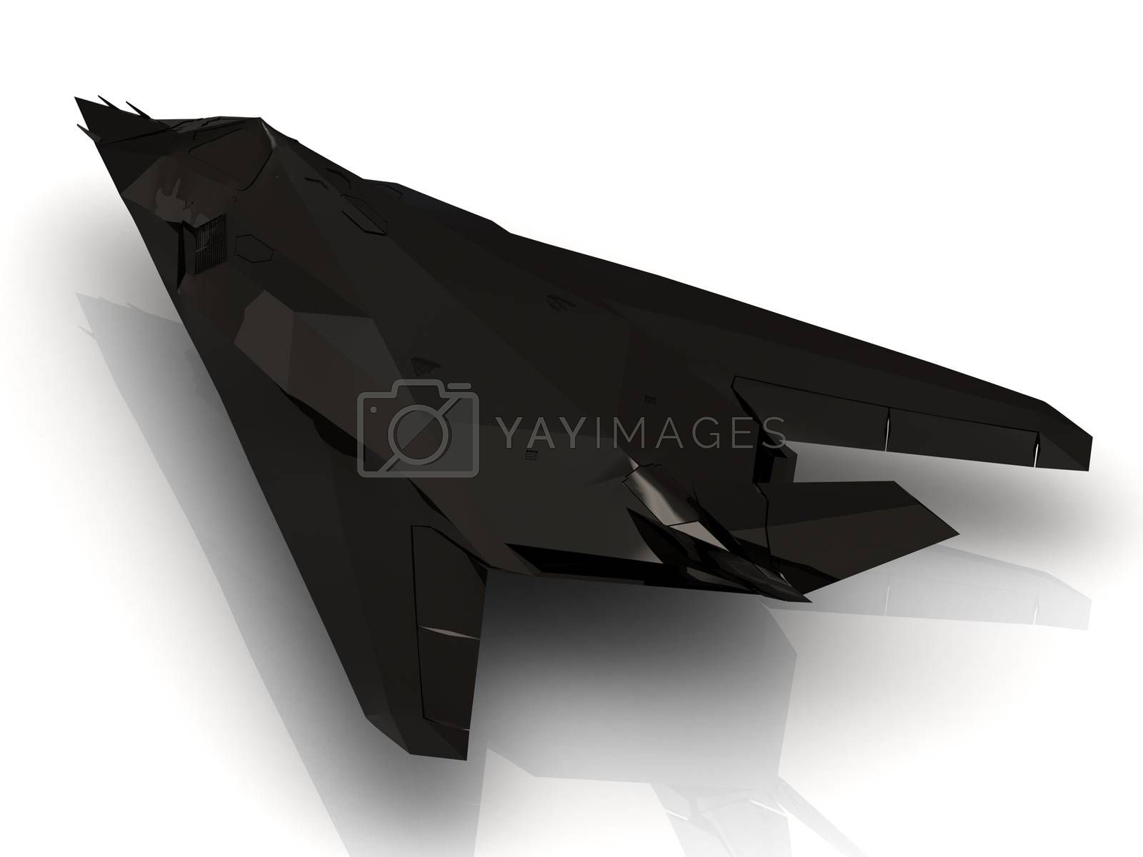 Military jet on the airport runway on white background