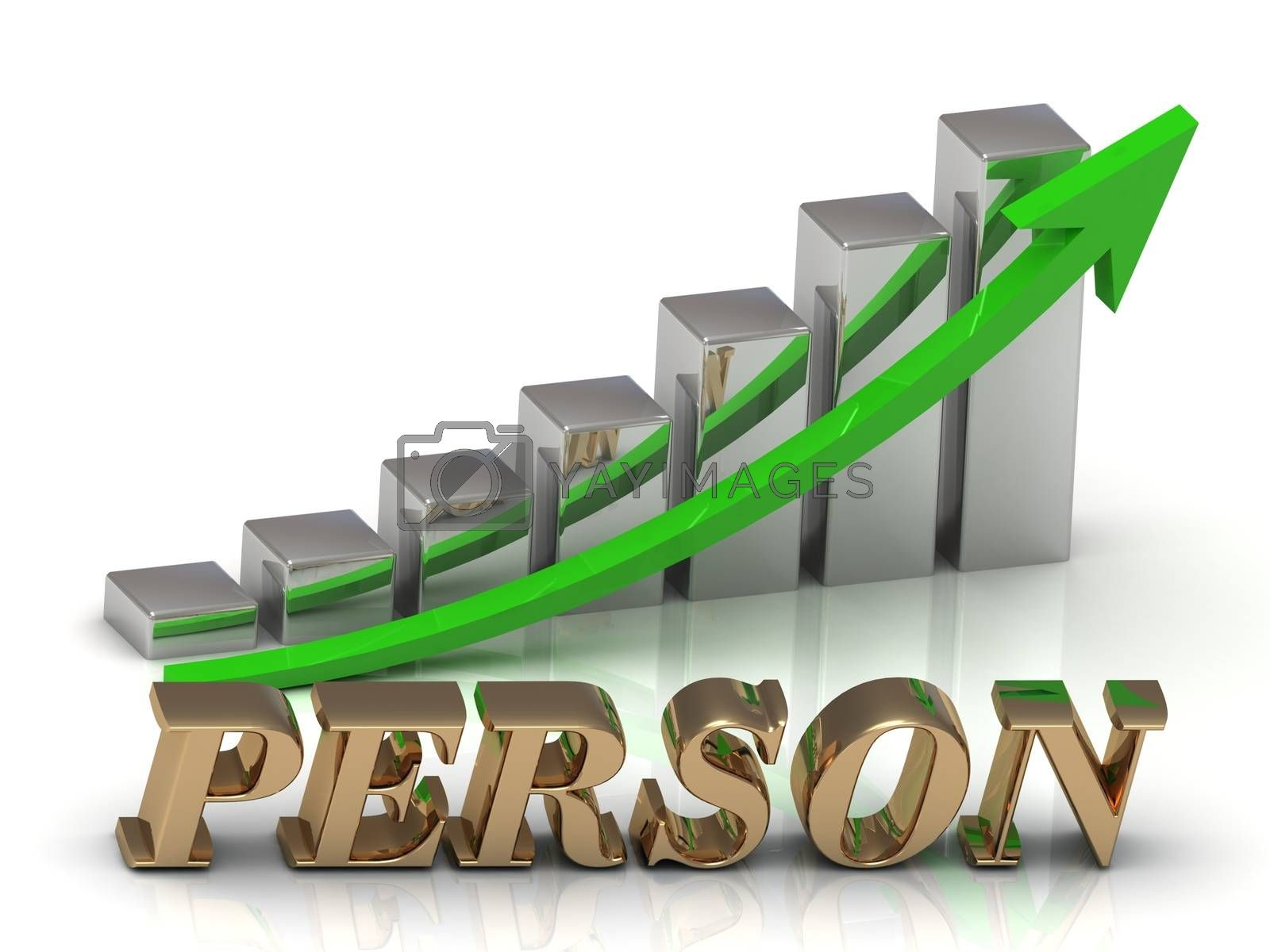 PERSON- inscription of gold letters and Graphic growth and gold arrows on white background