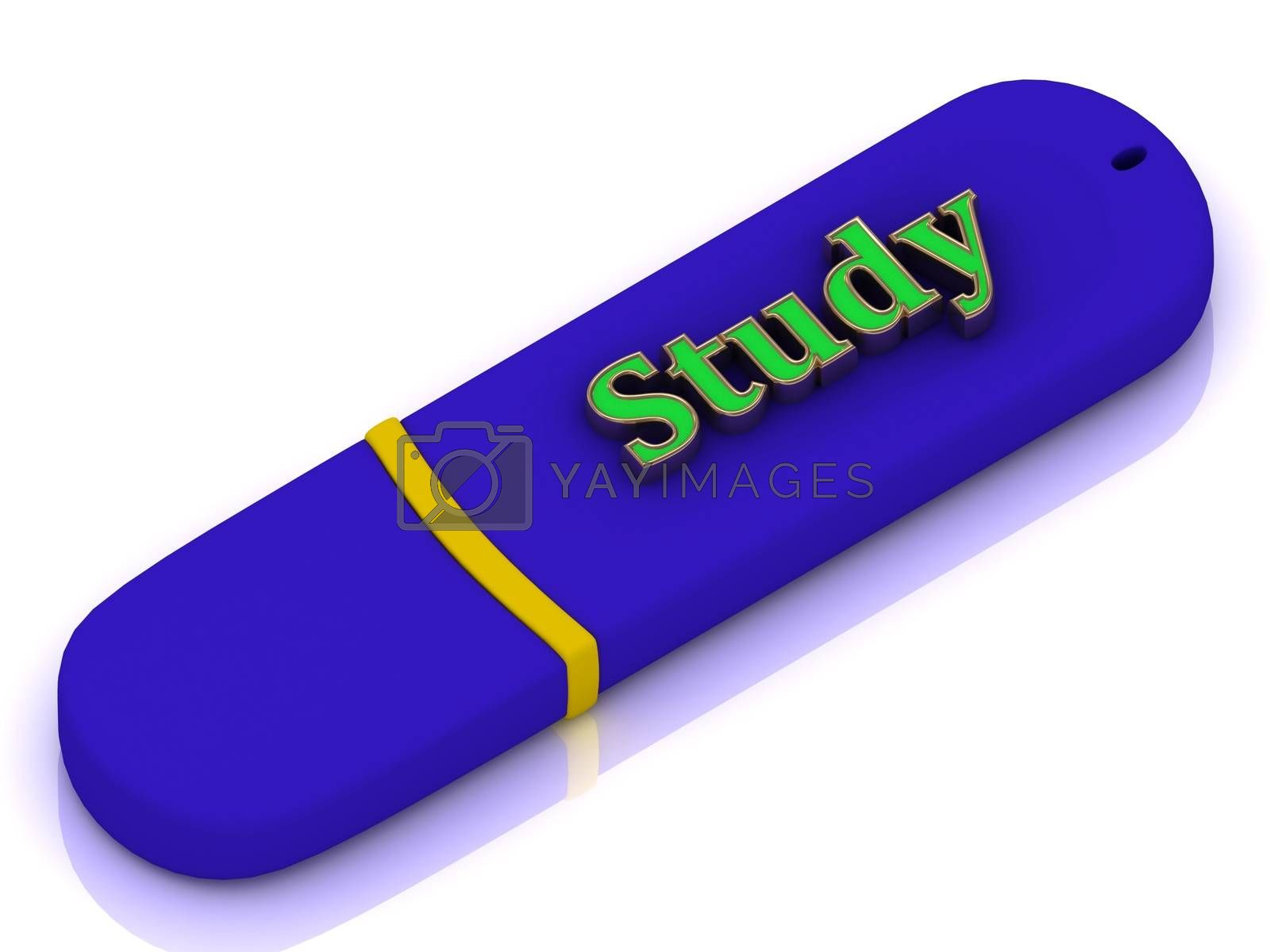 Study flash - inscription bright green volume letter on blue USB flash drive on white background