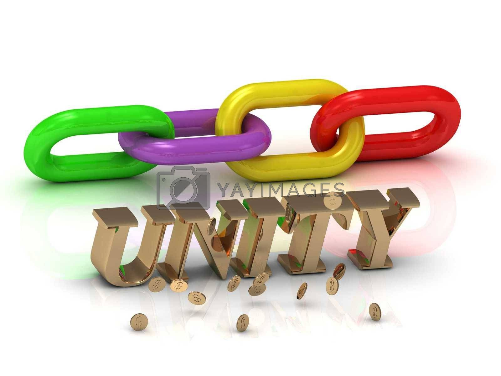 UNITY- inscription of bright letters and color chain on white background