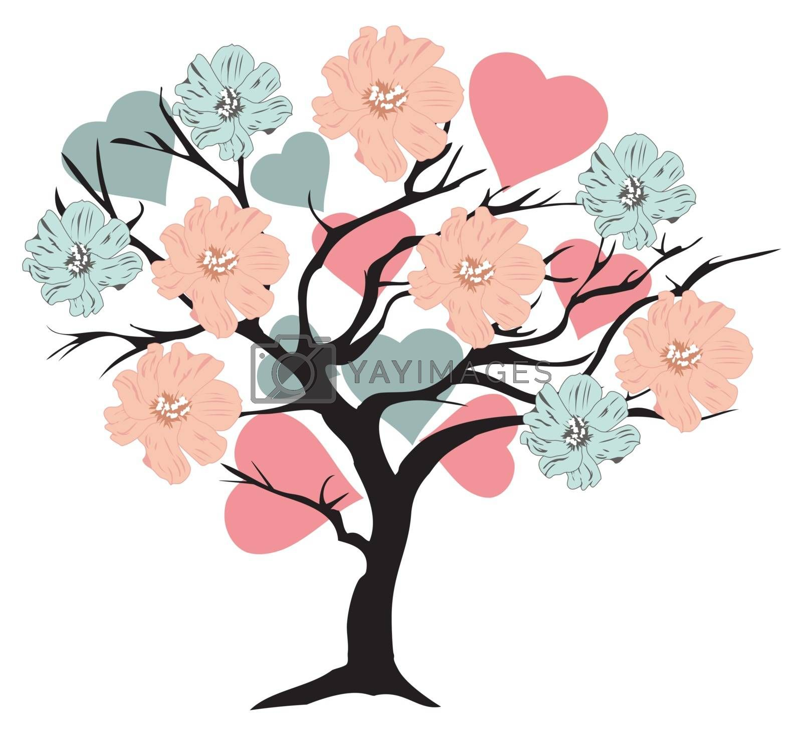 vector illustration of a valentine tree with hearts