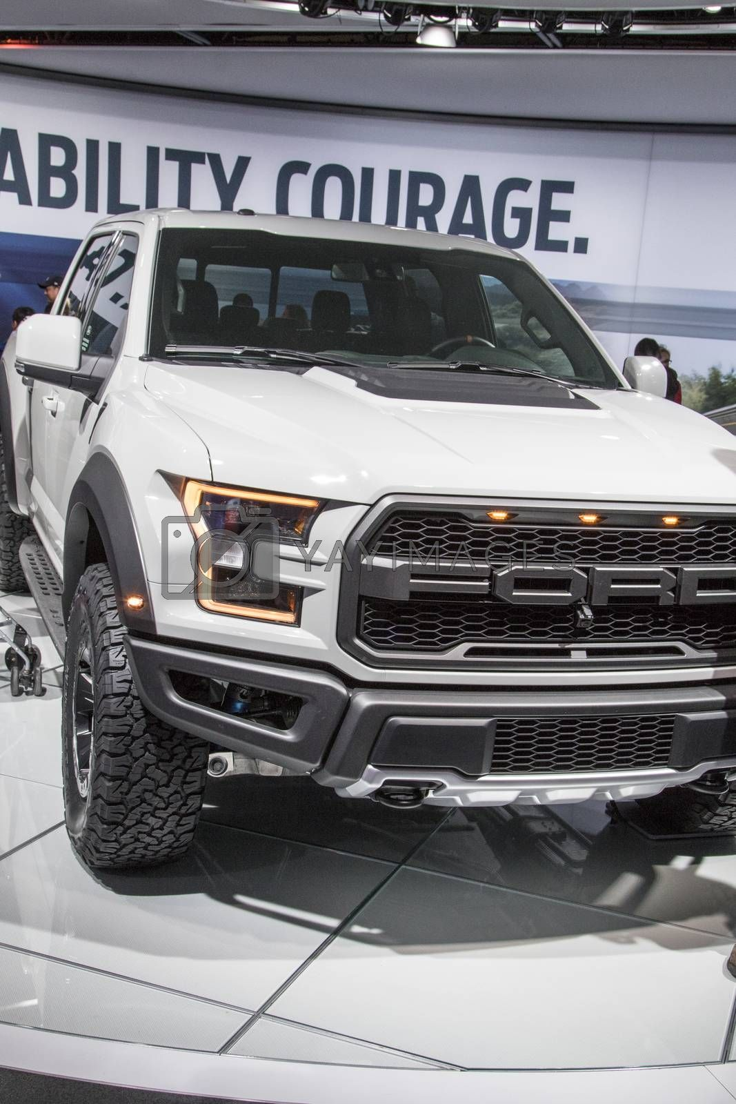 Royalty free image of DETROIT - JANUARY 17 :The 2017 Ford Raptor pickup truck at The N by snokid
