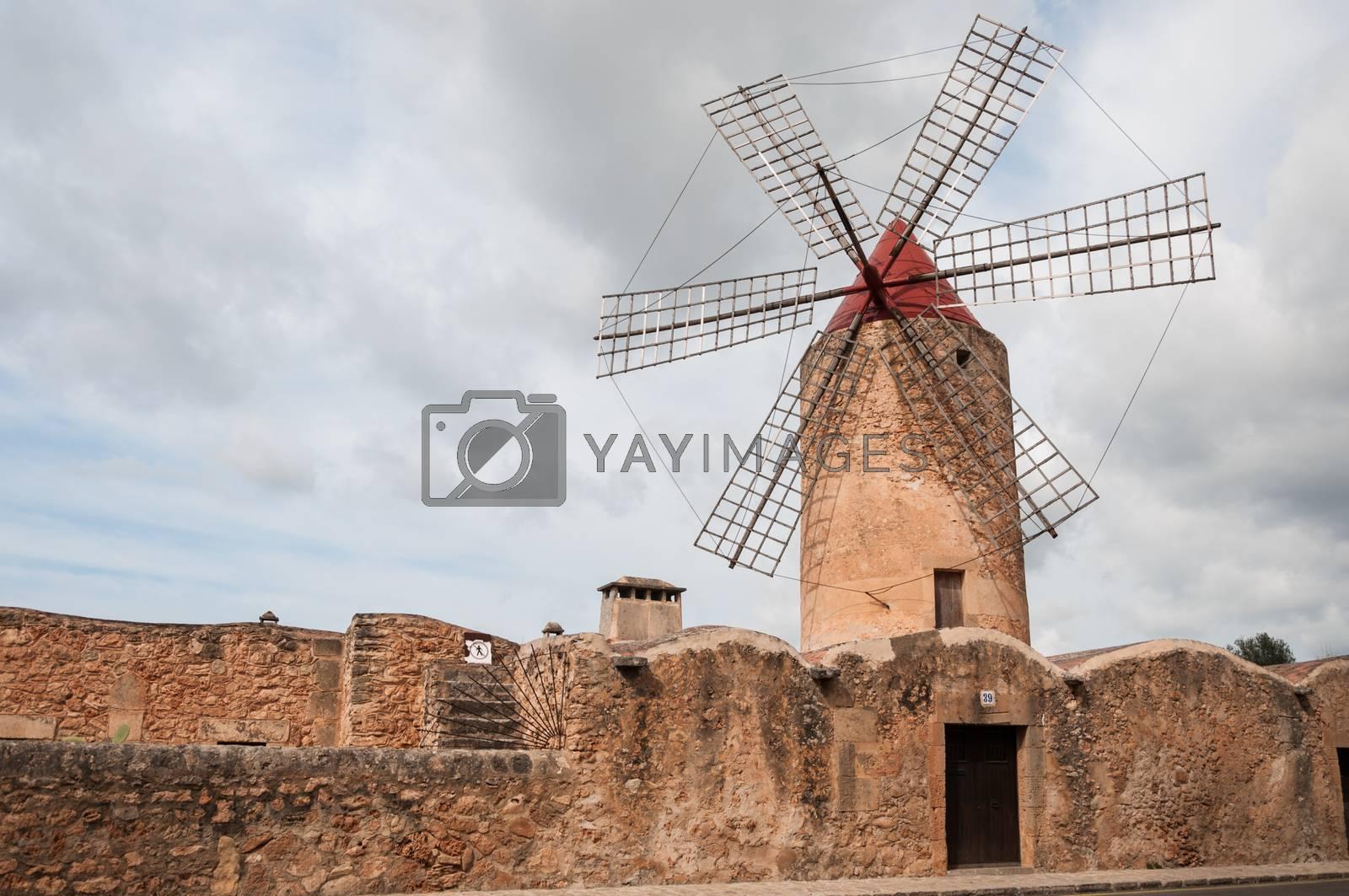 Windmill in a village in Mallorca by Mariamarmar