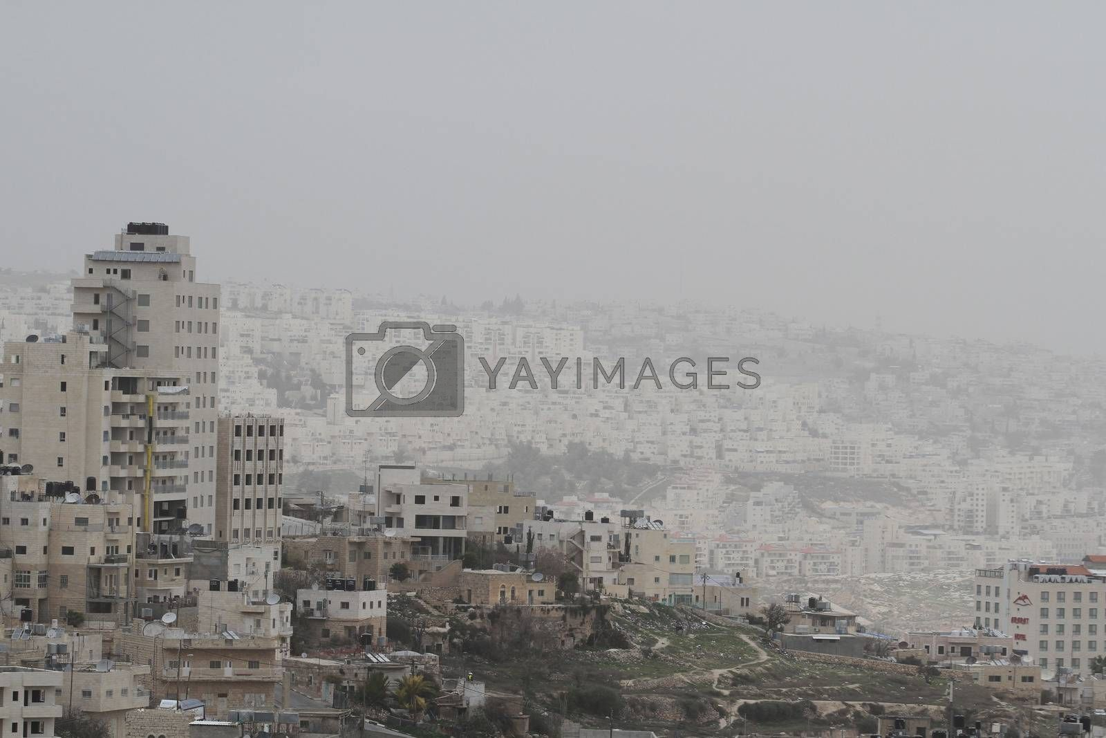 WEST BANK, Bethlehem: A general view of the Palestinian city of Bethlehem, as a sandstorm hits Israel and West Bank, causing air pollution, on January 19, 2016. A low-pressure system over the Mediterranean has driven the dust northeast from Egypt and the Sinai Peninsula.